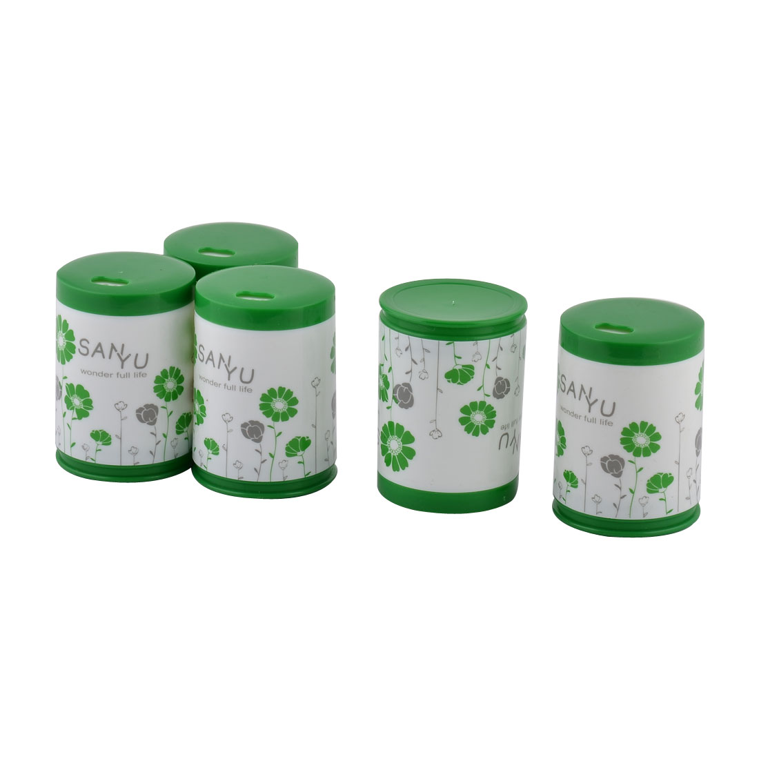 Home Plastic Cylinder Shaped Flower Pattern Toothpicks Case Holder Green White 5 PCS