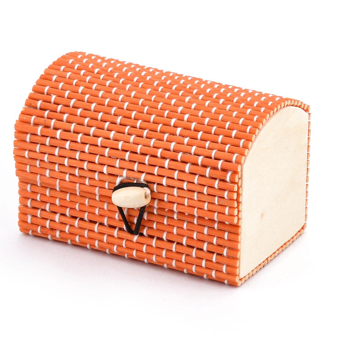 Wood Handmade Gift Storage Box Jewelry Necklace Ornament Organizer Holder Orange