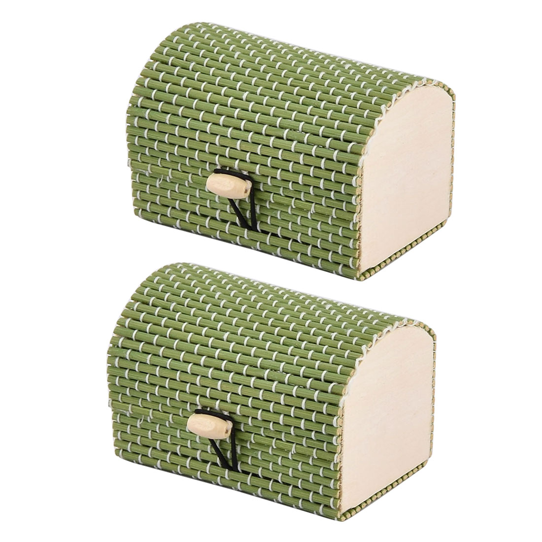 Bamboo Handmade Gift Storage Box Jewelry Necklace Ornament Organizer Green 2 PCS
