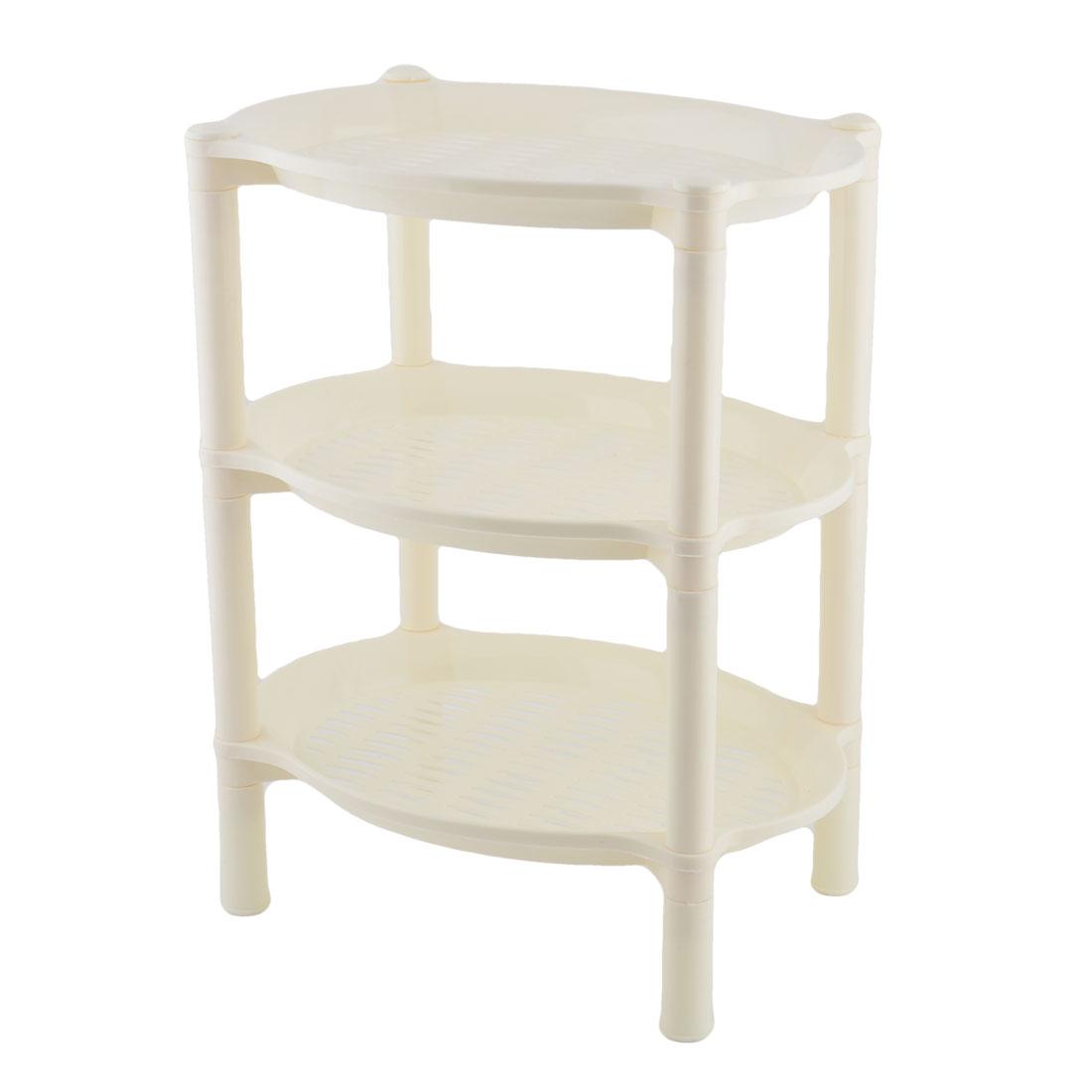 Household Bathroom Plastic Mini 3 Layer Shelf Storage Rack Organizer Beige