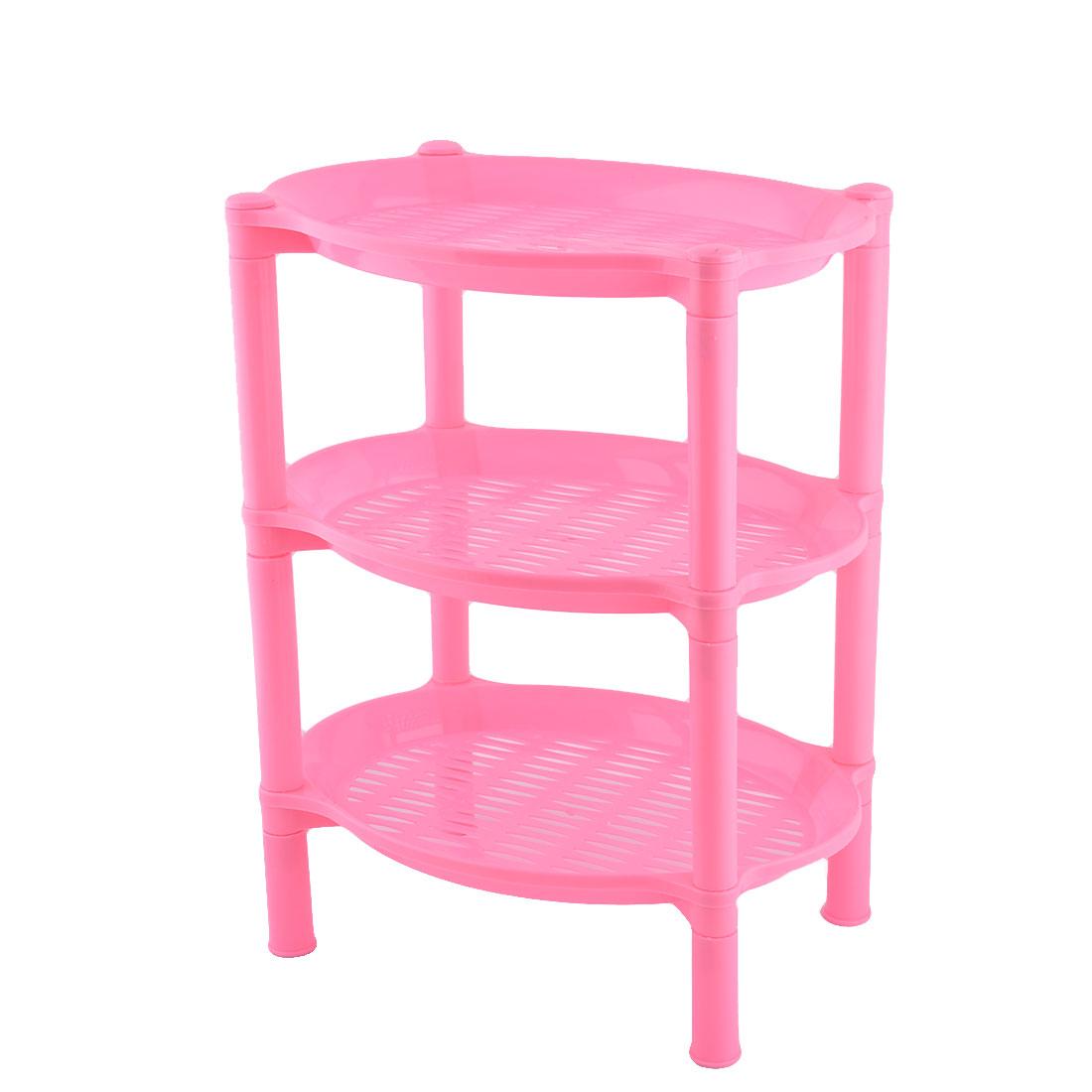 Household Bathroom Plastic Mini 3 Layer Shelf Storage Rack Organizer Pink