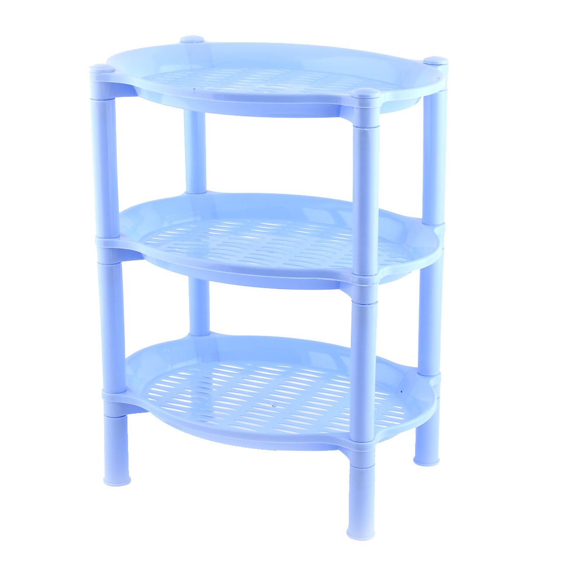 Household Bathroom Plastic Mini 3 Layer Shelf Storage Rack Organizer Blue