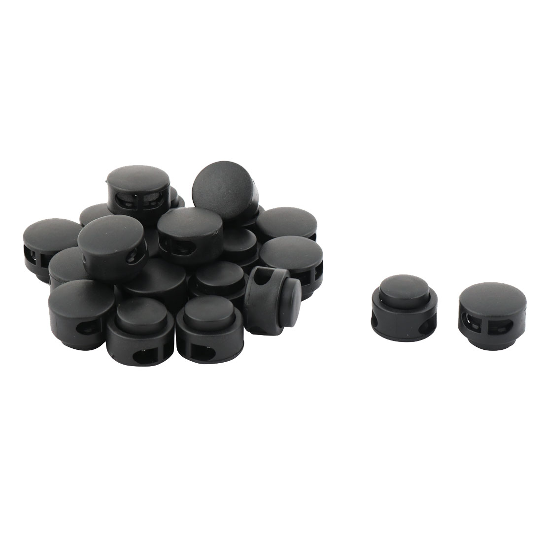 Plastic Cylinder Double Hole Toggle Stopper Cord String Adjustive Lock Black 20 Pcs