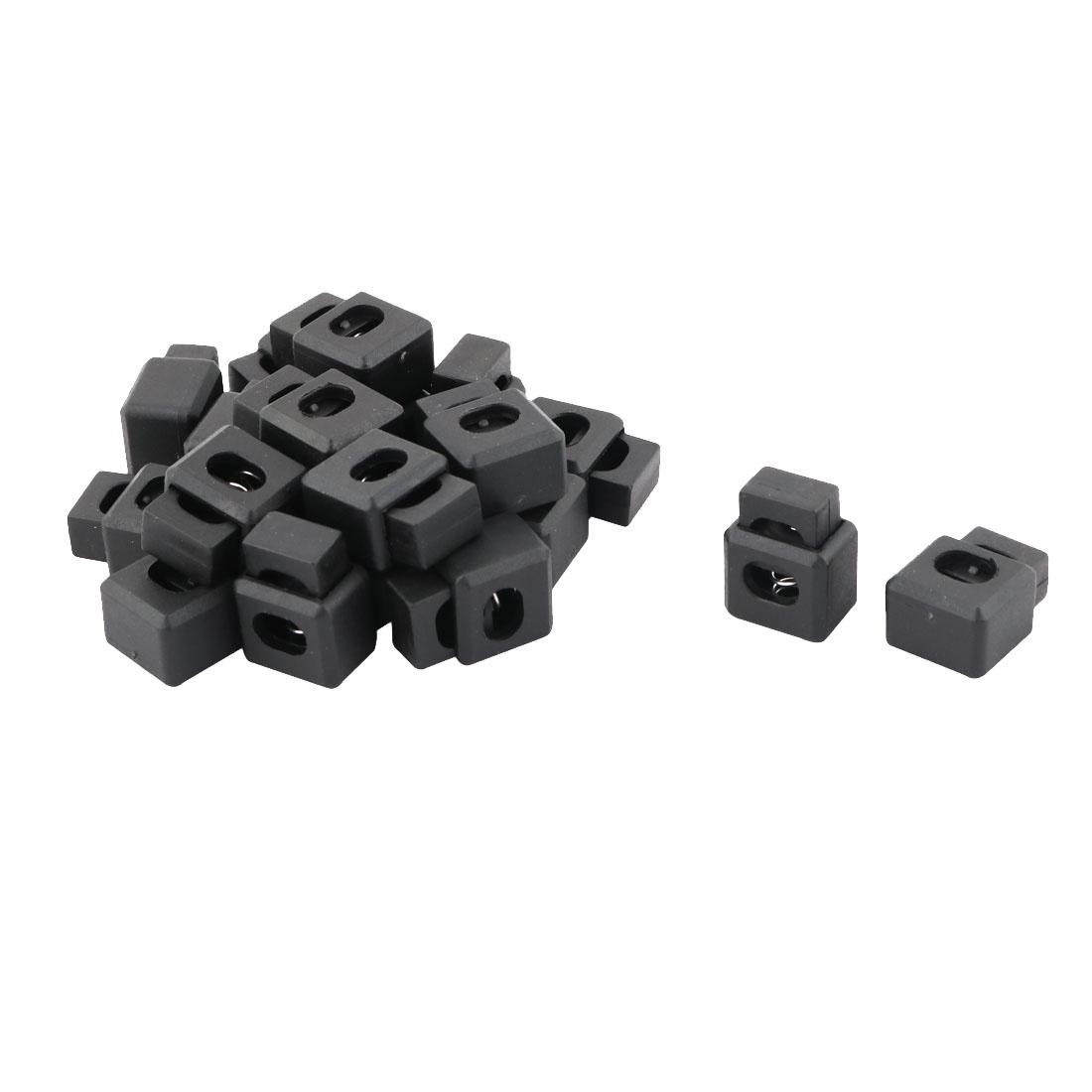 Plastic Square Single Hole Toggle Stopper Cord String Adjustive Lock Fastener Black 20 Pcs