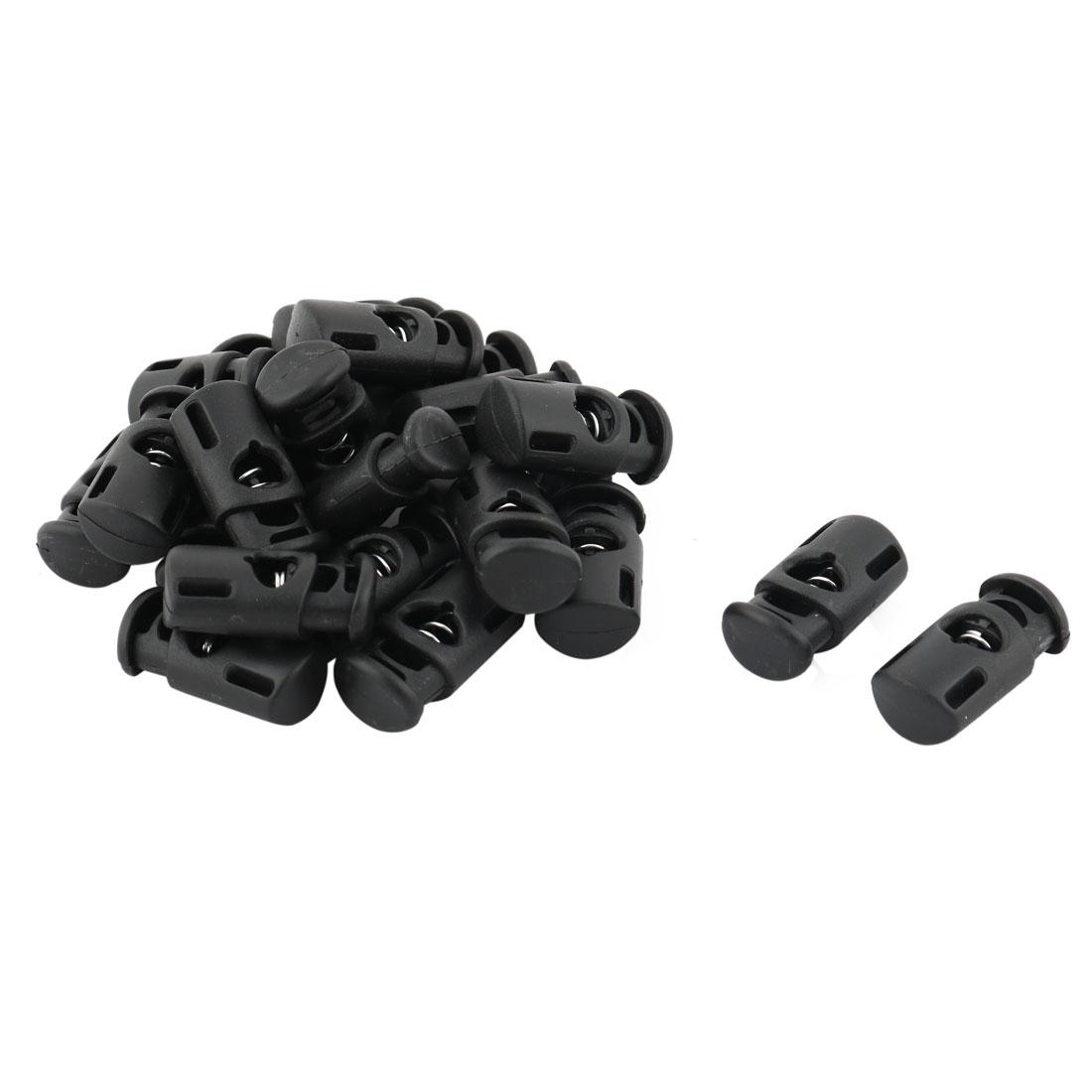 Plastic Single Hole Toggle Stopper Clothing Cap Cord Adjustive Lock Black 20 Pcs