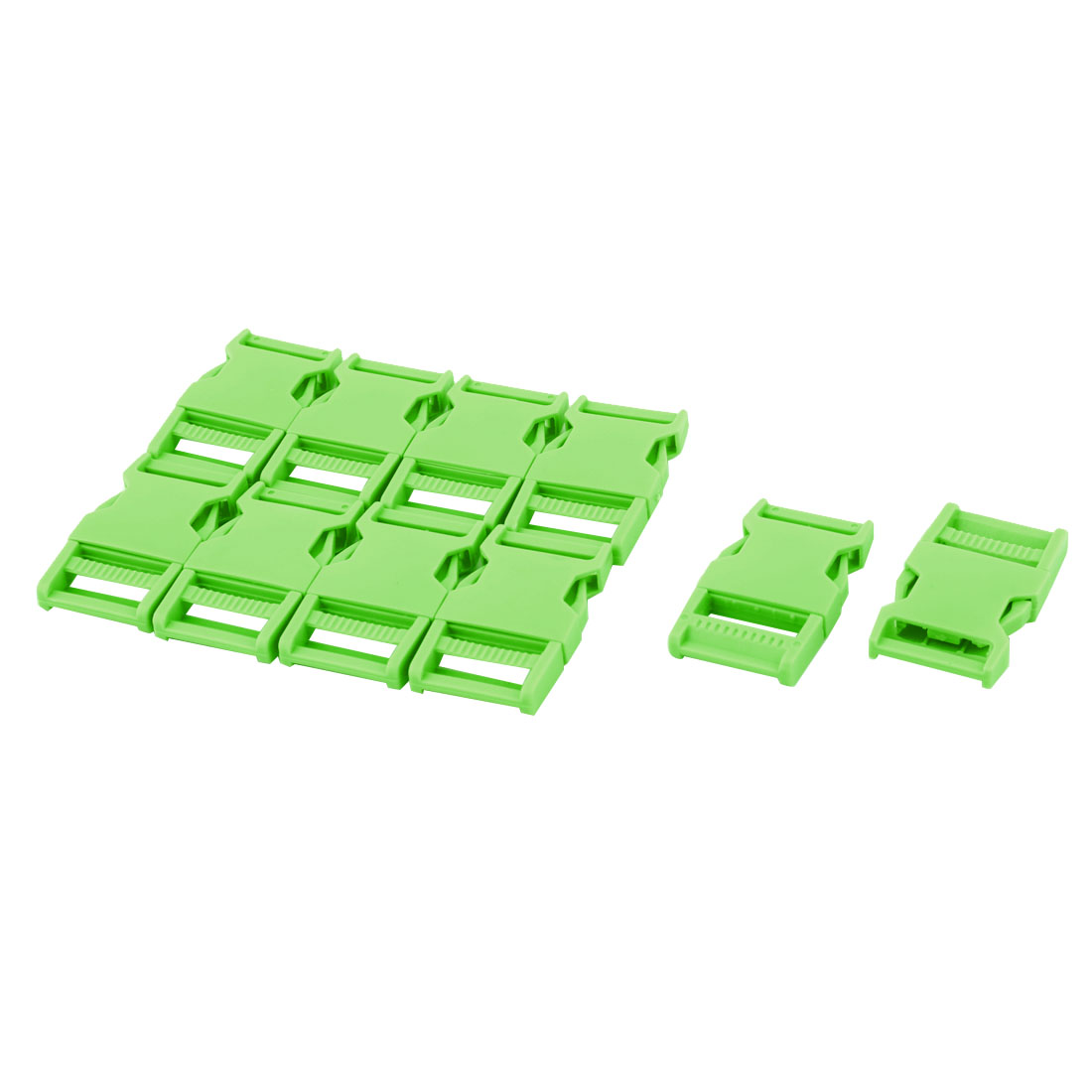 Schoolbag Plastic Webbing Strap Adjustive Double Side Quick Release Buckle Green 10 Pcs