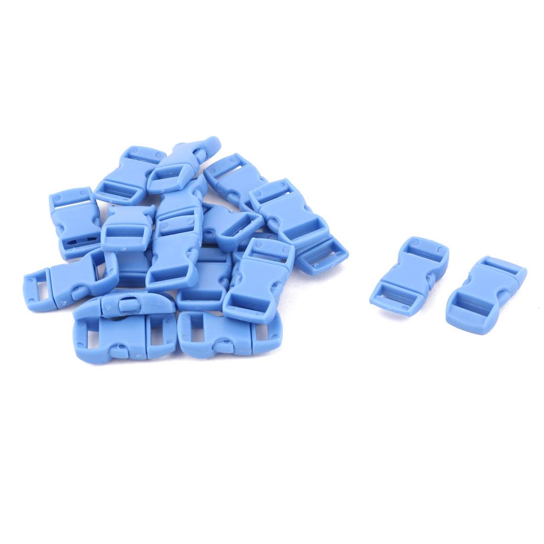 Backpack Bag Plastic Strap Belt Adjustive Connecting Quick Release Buckle Blue 20 Pcs