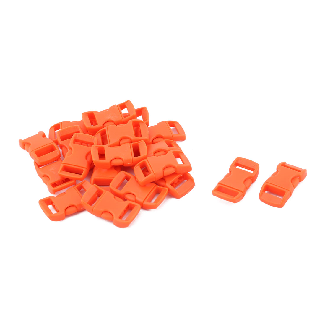 Bag Plastic Strap Webbing Belt Adjustive Connecting Quick Release Buckle Orange 20 Pcs