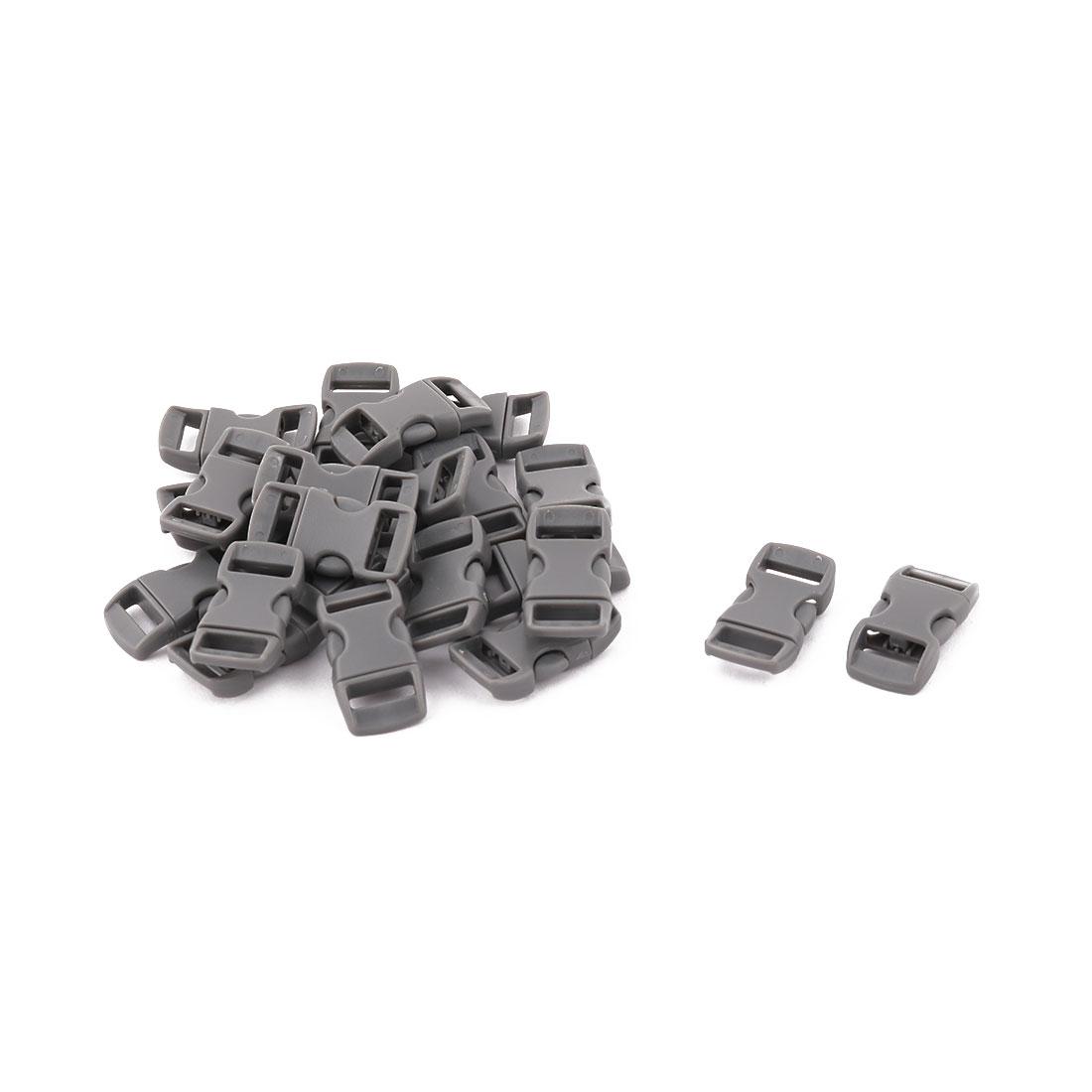 Bag Plastic Strap Webbing Belt Adjustive Connecting Quick Release Buckle Dark Gray 20 Pcs