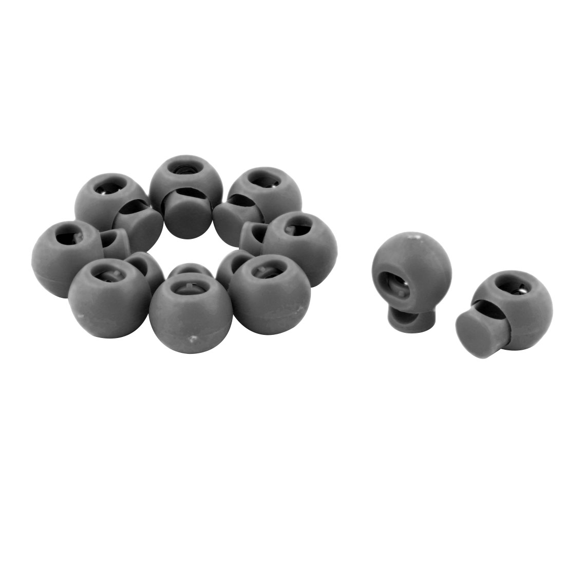 Plastic Round Single Hole Ball Toggle Stopper Cord String Adjustive Lock Gray 10 Pcs
