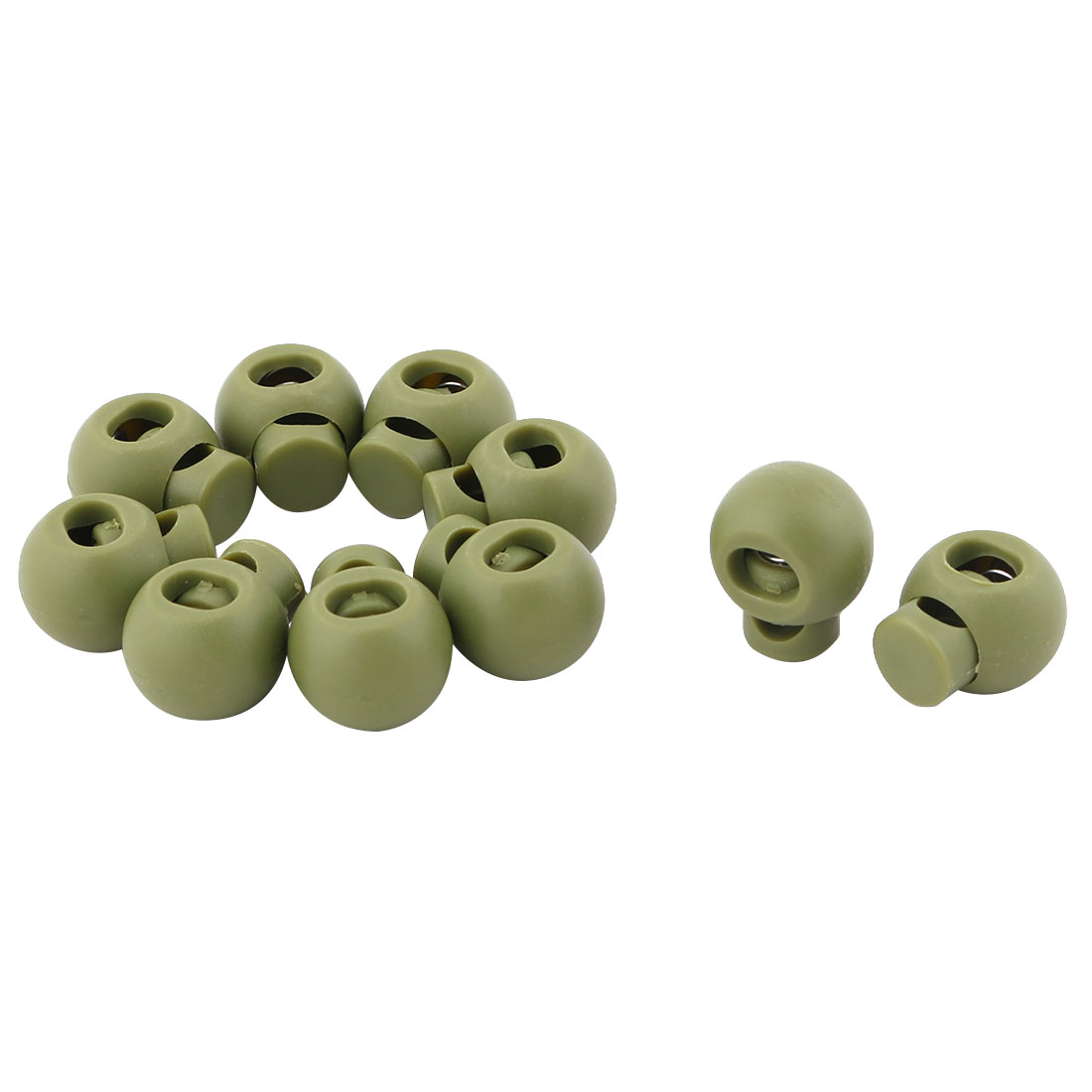 Plastic Round Single Hole Ball Toggle Stopper Cord String Adjustive Lock Army Green 10 Pcs