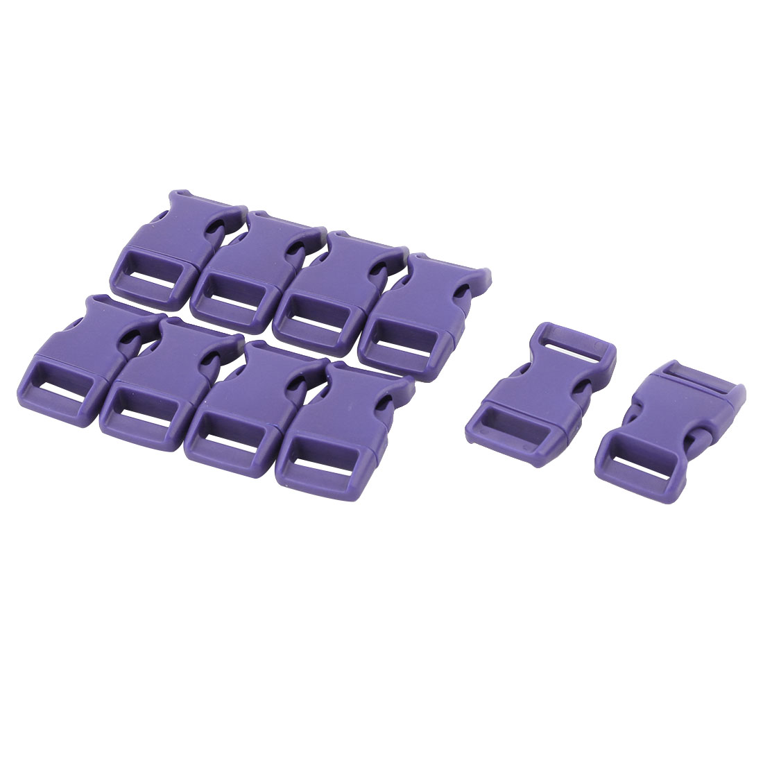 Handbag Plastic Strap Webbing Adjustive Connecting Quick Release Buckle Purple 10 Pcs