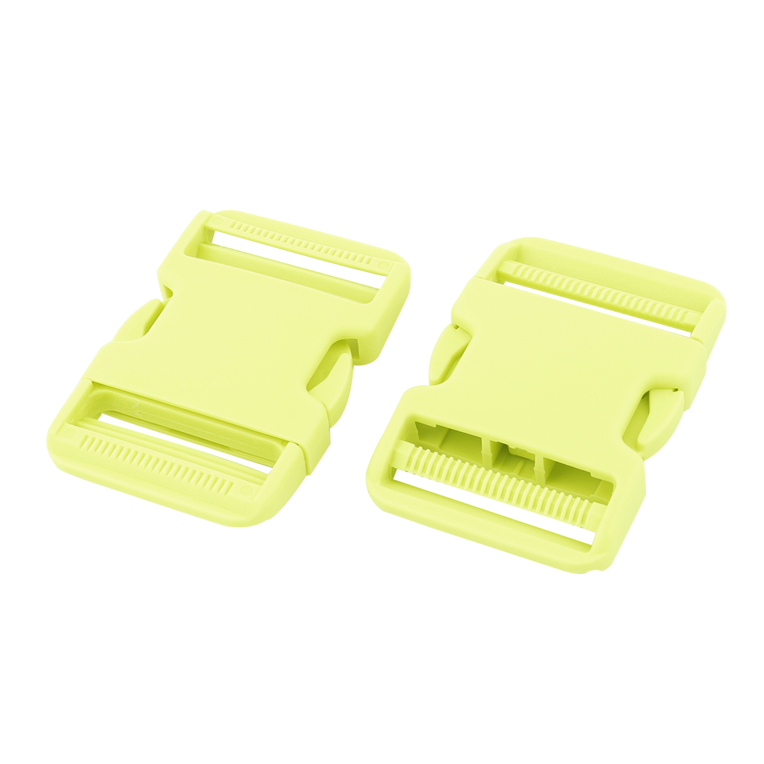 Backpack Plastic Webbing Strap Adjustive Double Side Quick Release Buckle Yellow Green 2 Pcs