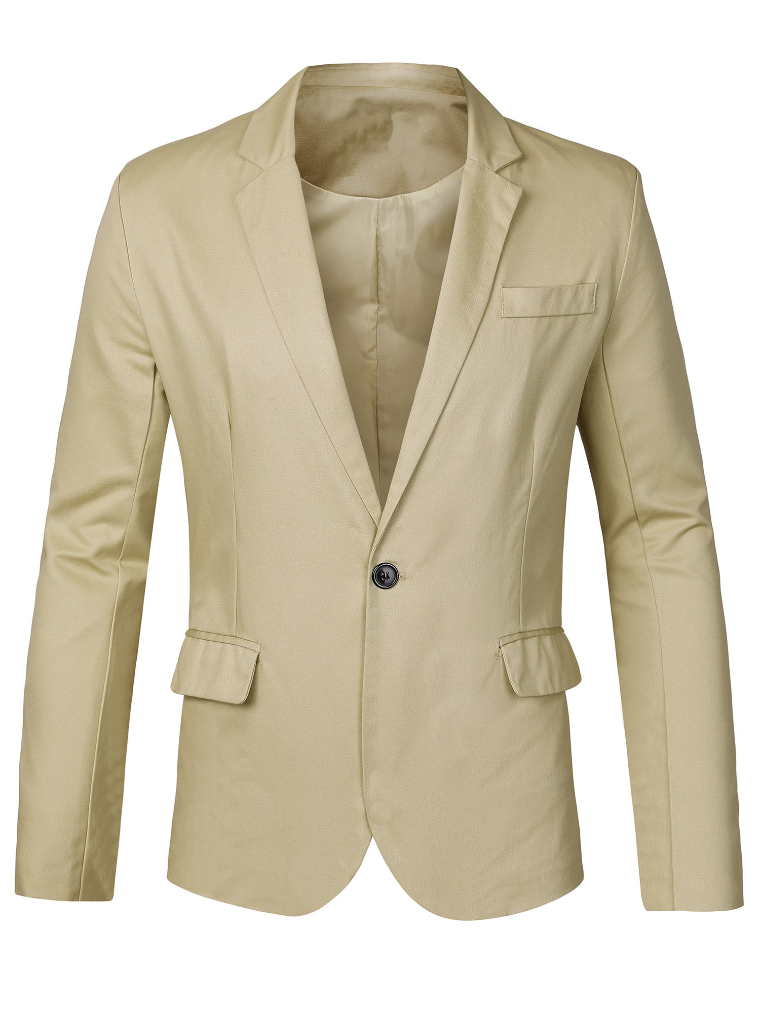 Men Notched Lapel Center-Vent Back Button Closed Casual Blazer L Beige