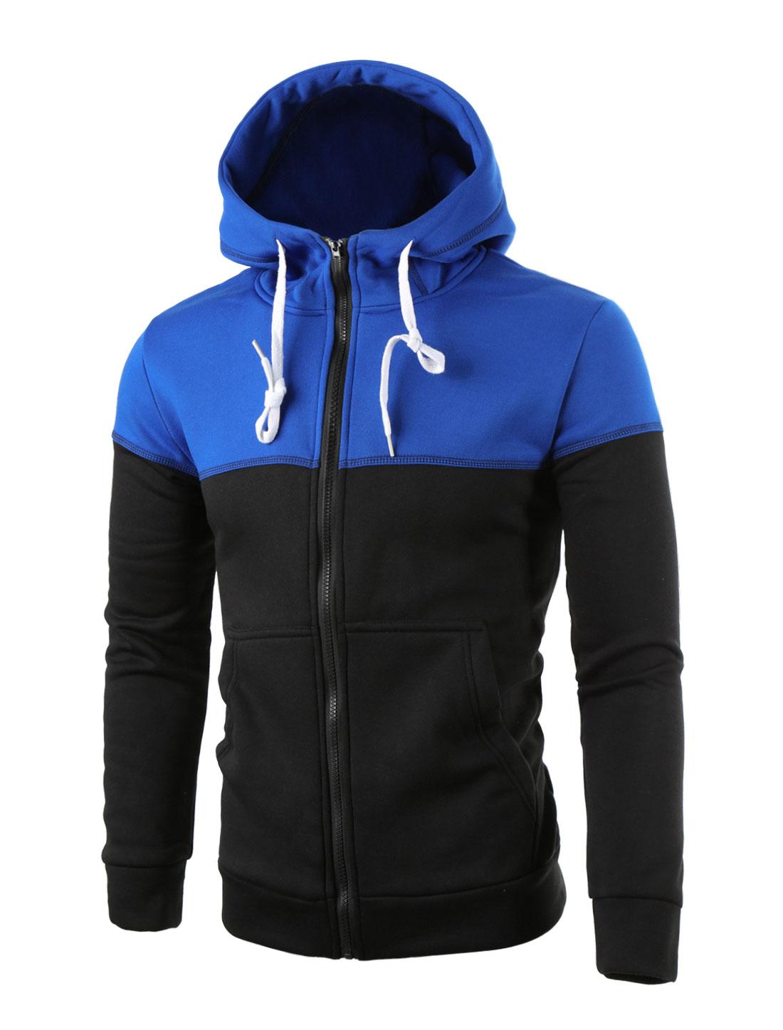 Men Long Sleeves Drawstring Hooded Front Pockets S Blue