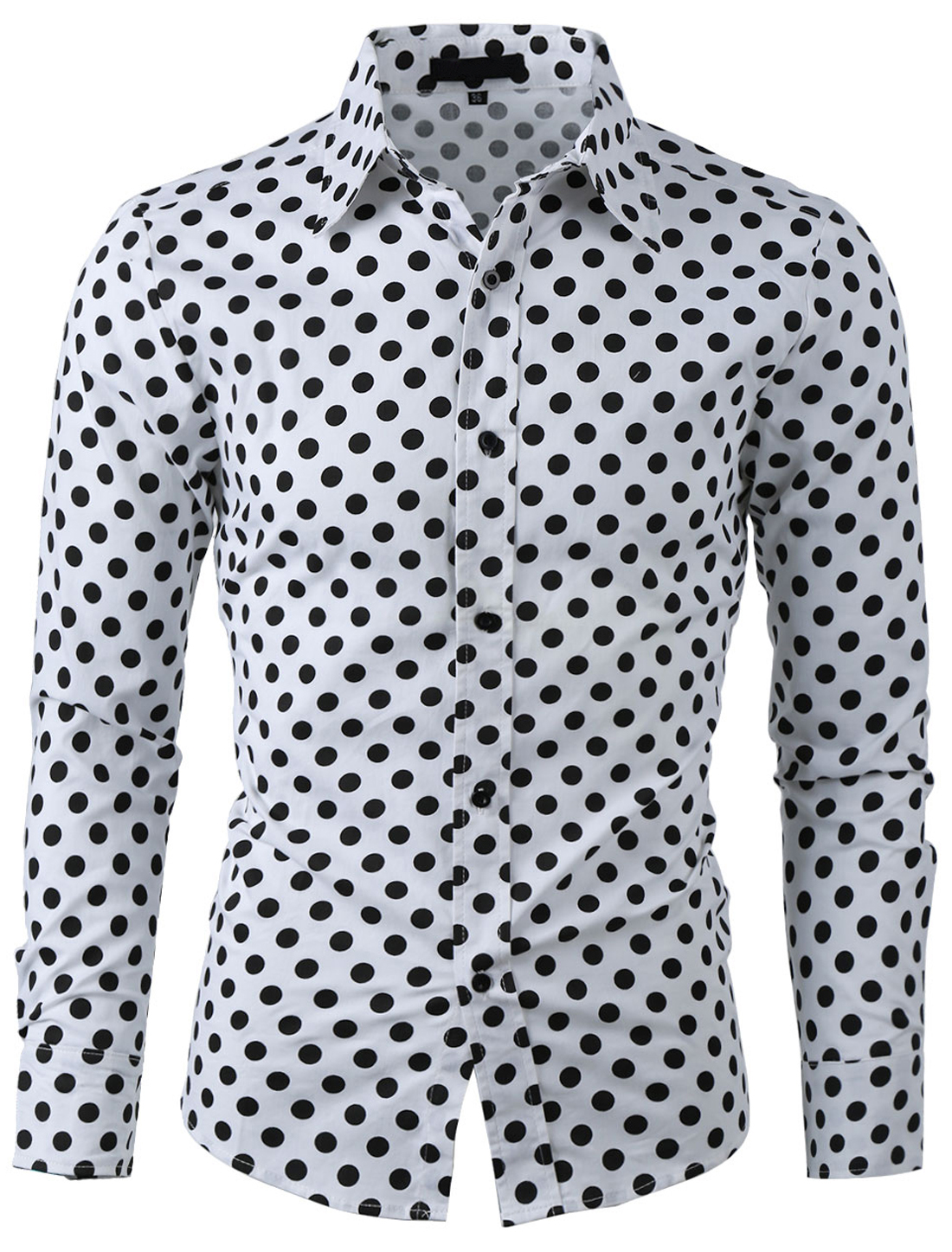 Men Long Sleeves Button Down Dots Prints Fitted Business Shirt White M