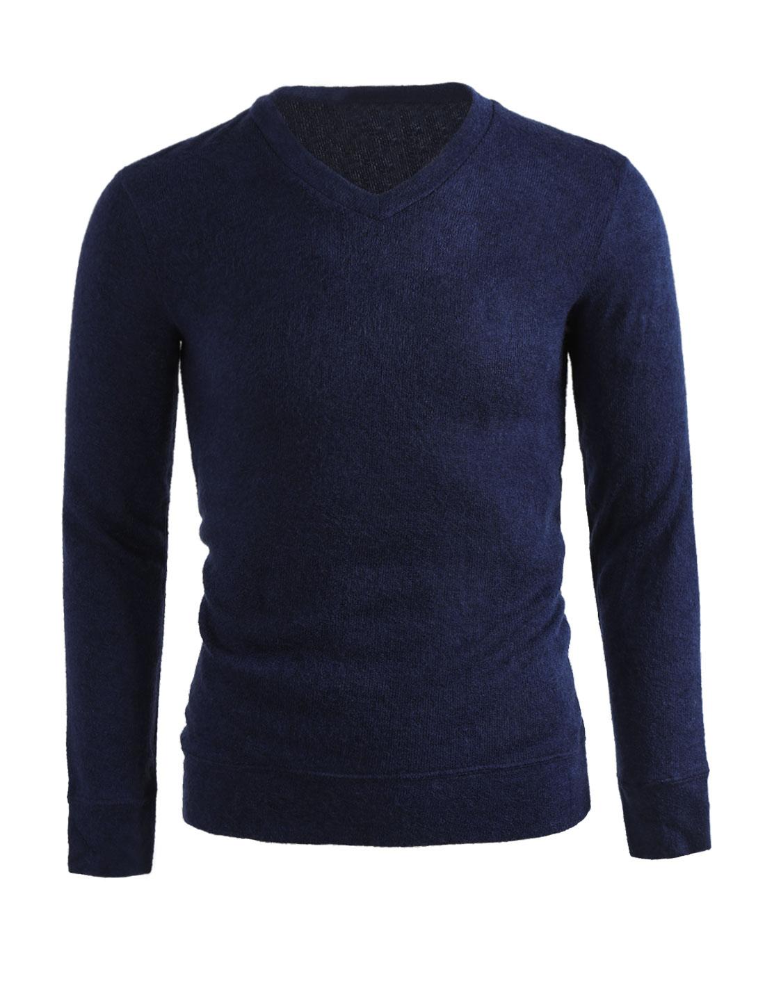 Men Pullover Solid Color V-neck Slim Fall Knit Top Blue L
