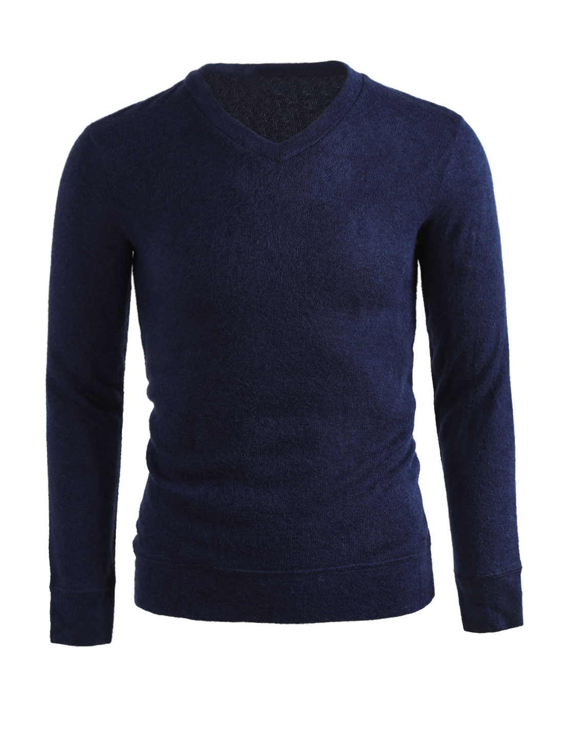 Men V Neck Long Sleeves Solid Color Knit Top Blue L