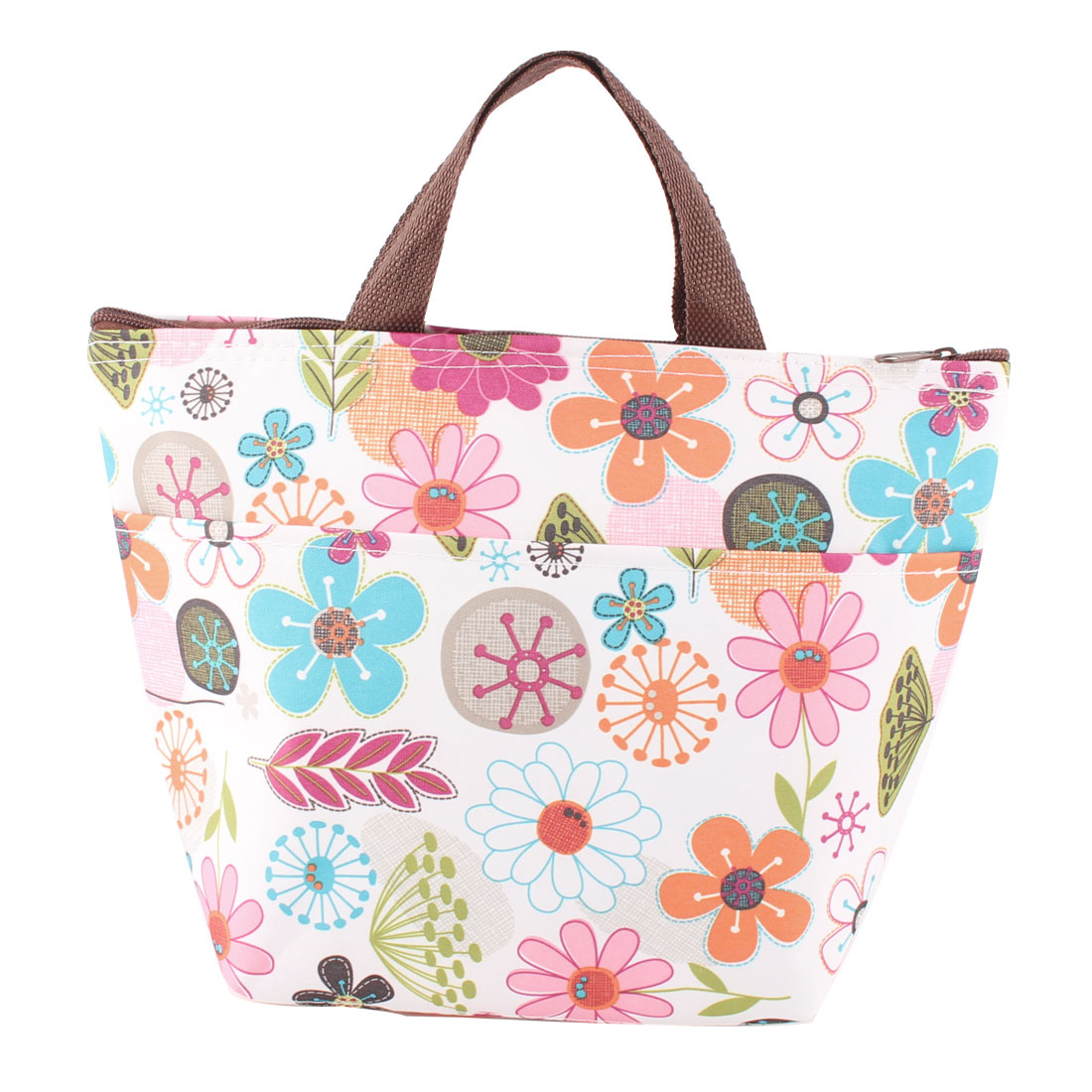 Flower Printted Thermal Insulated Heat Retaining Lunch Bag Box Cooler Tote