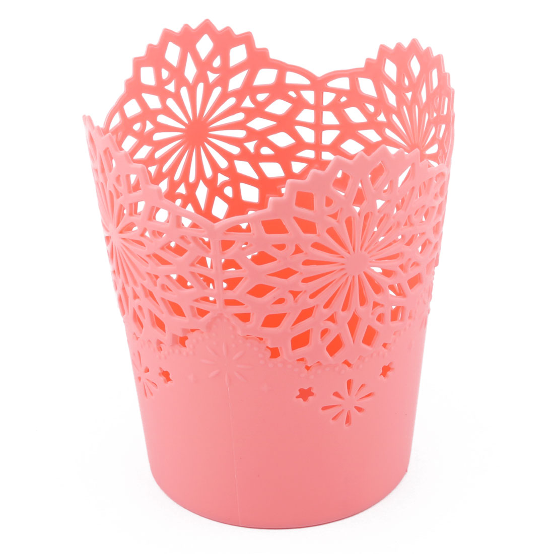 Household Office Hollow Out Desktop Sundries Ruler Organizer Storage Basket Coral Pink