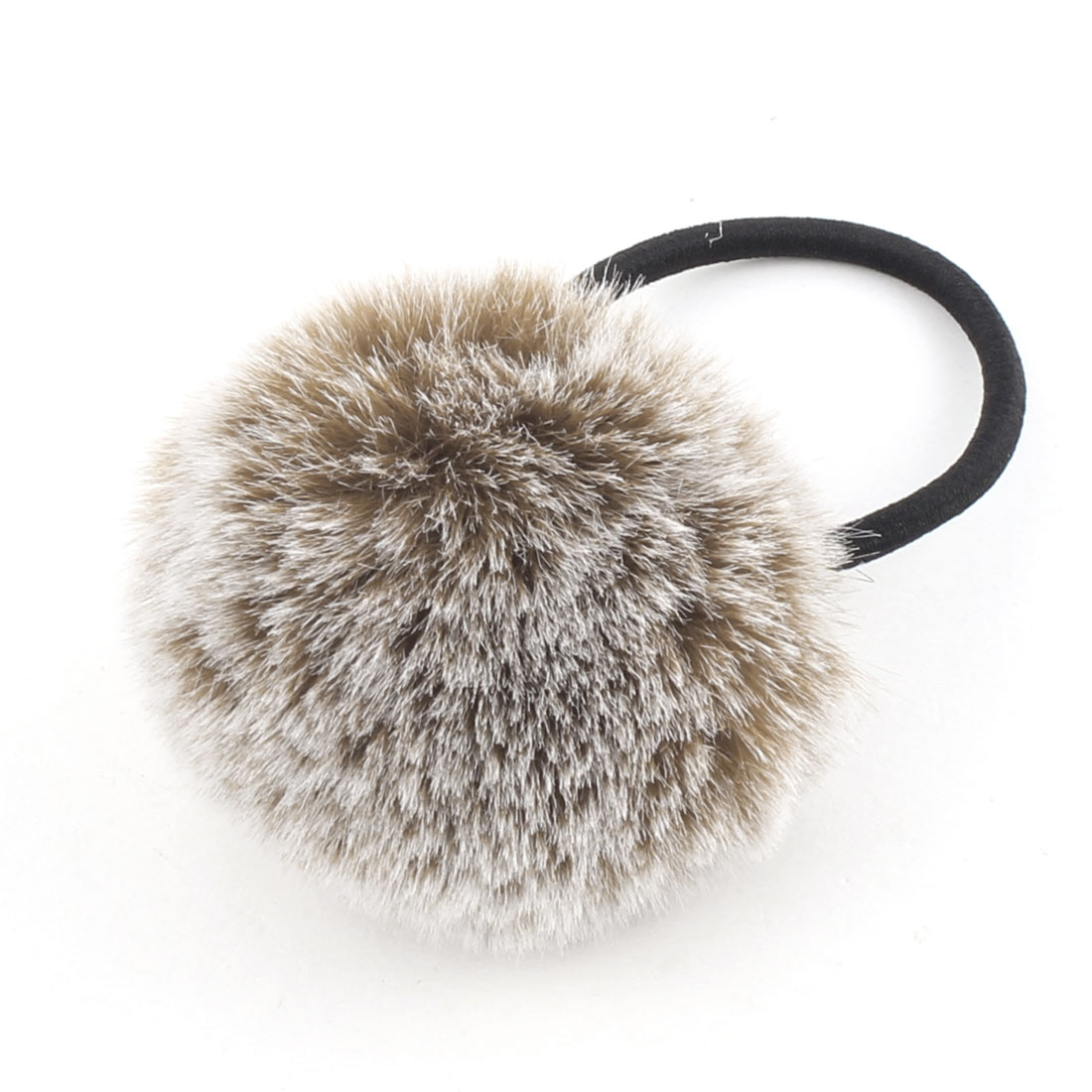 Faux Fur Ball Decor Stretchy Band DIY Hairstyle Ponytail Hairband Light Brown
