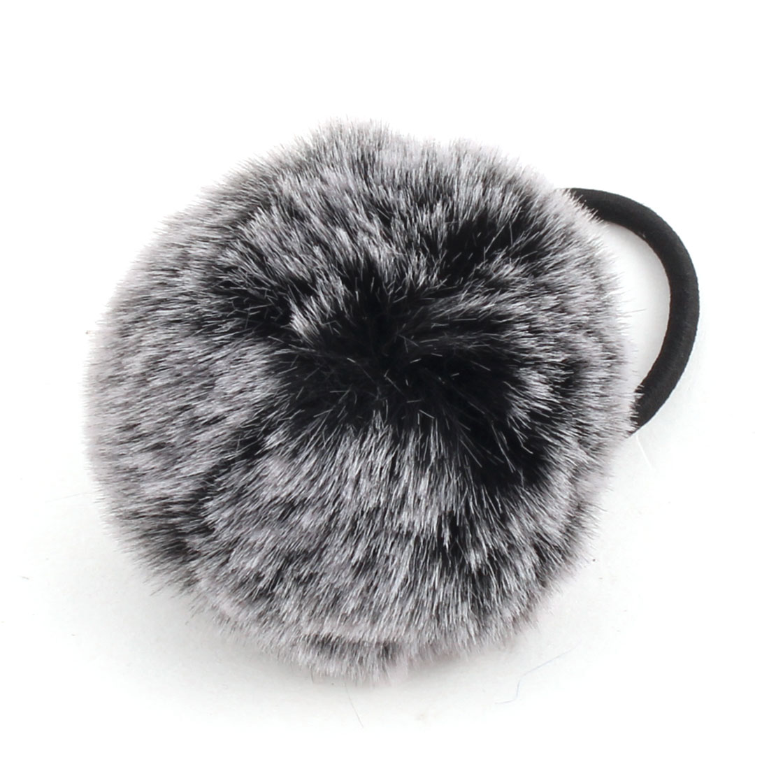 Faux Fur Ball Decor Stretchy Band DIY Hairstyle Hair Tie Ponytail Hairband Black