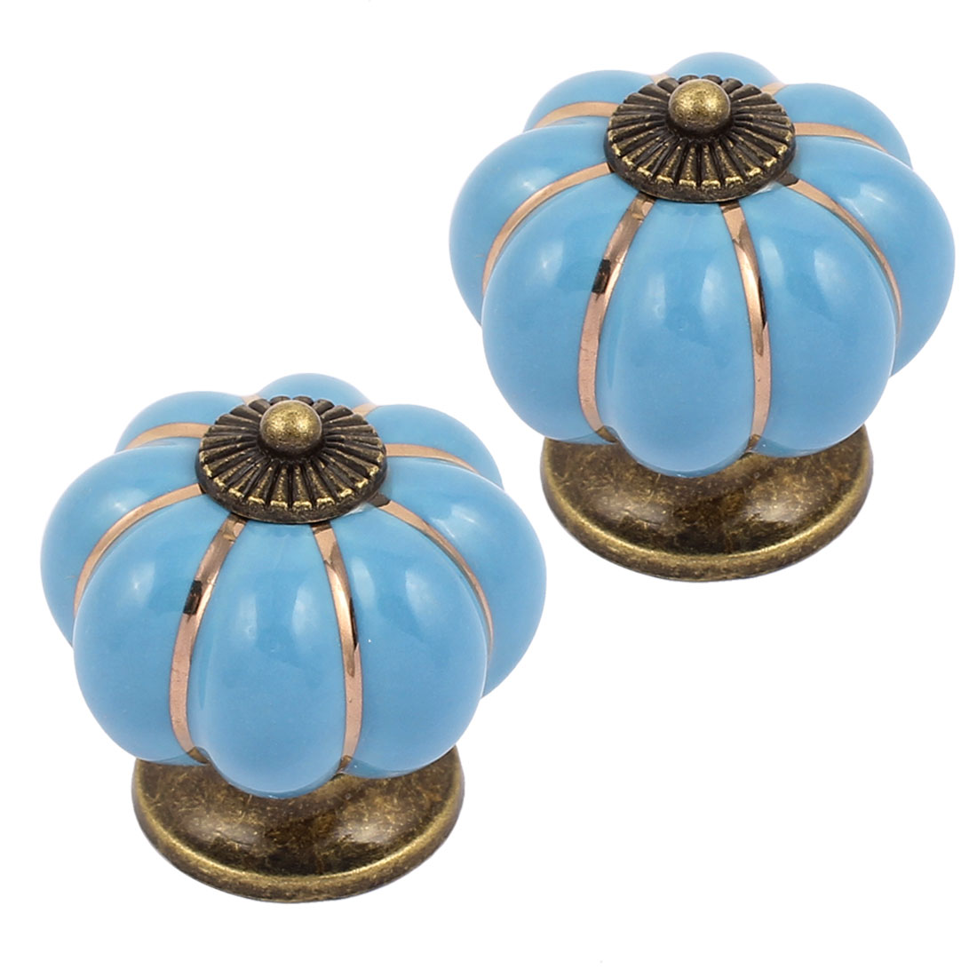 Cabinet Wardrobe Drawer Door Pull Pumpkin Ceramic Knobs Handle Blue 2pcs
