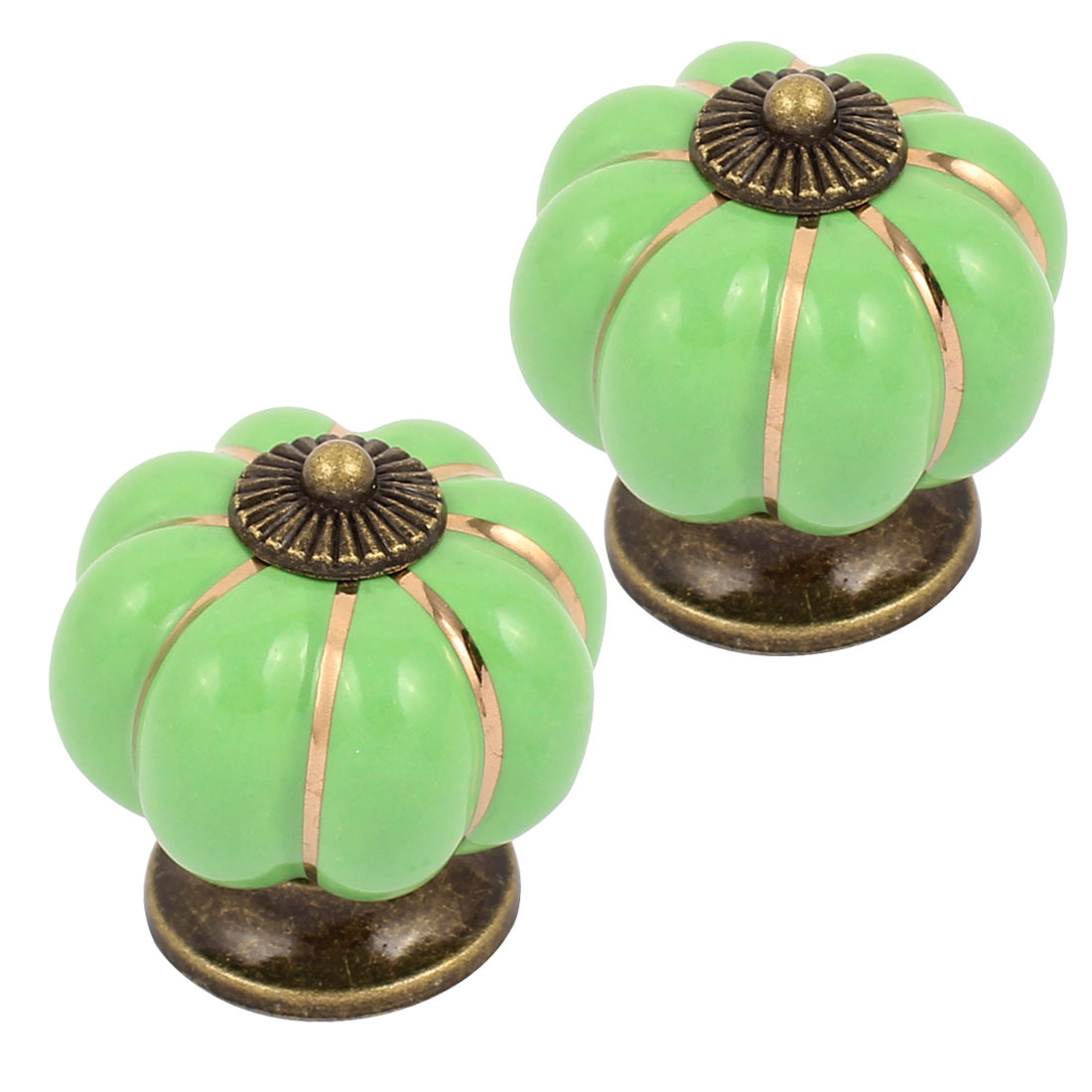 Cabinet Wardrobe Drawer Door Pull Pumpkin Ceramic Knobs Handle Green 2pcs