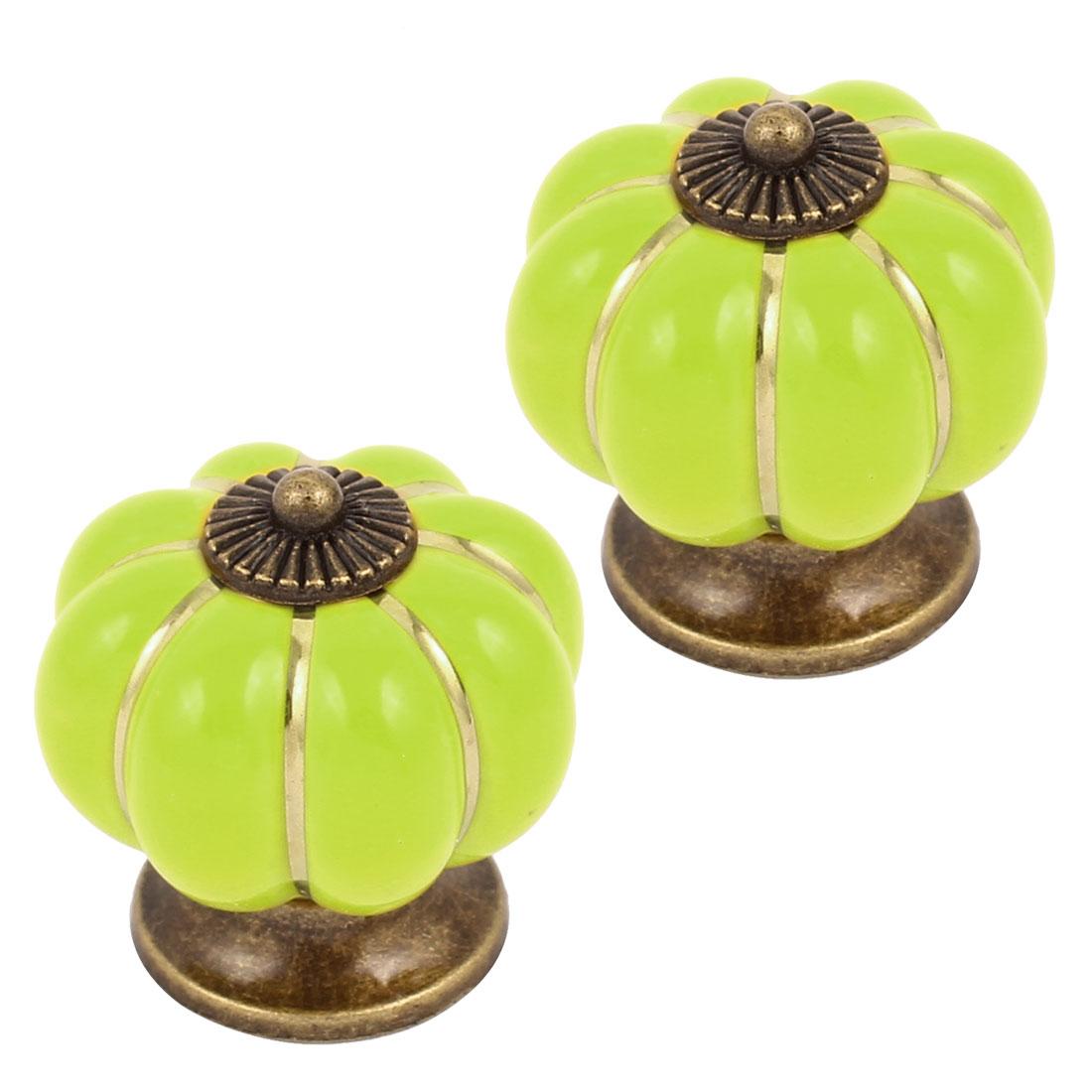 Cabinet Wardrobe Drawer Door Pull Pumpkin Ceramic Knobs Handle Light Green 2pcs