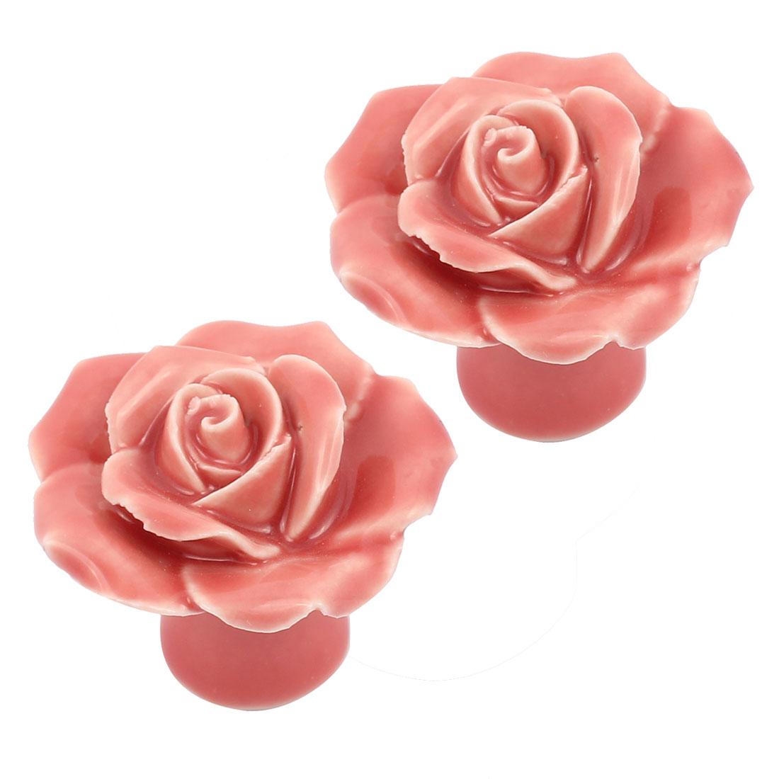 Cabinet Wardrobe Drawer Door Pull Rose Shape Design Ceramic Knobs Pink 2pcs
