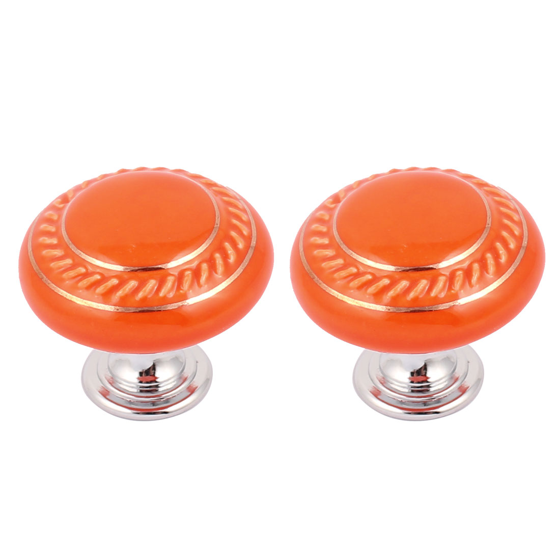 Cabinet Wardrobe Drawer Door Pull Round Shape Ceramic Knobs Handle Orange 2pcs