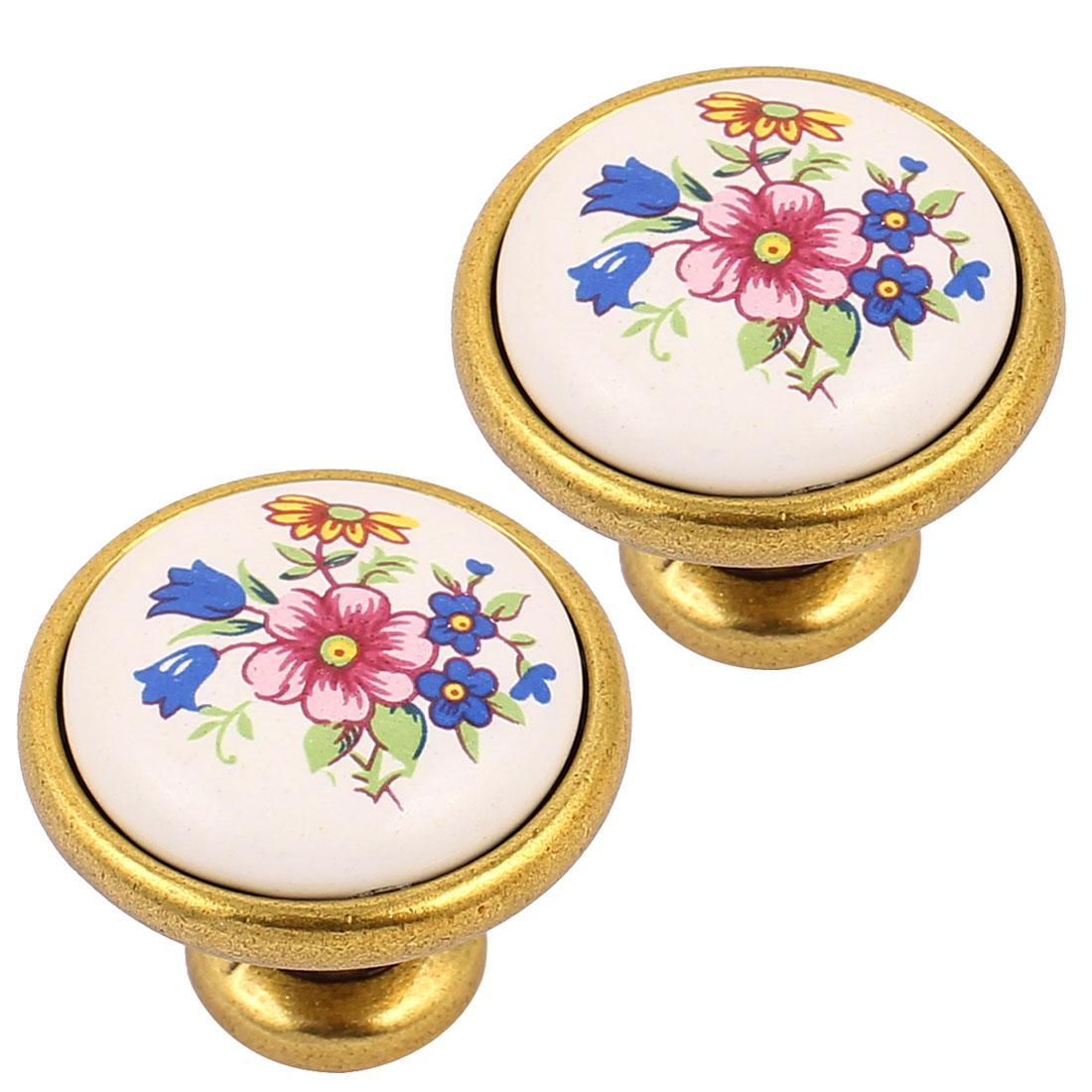 Cabinet Wardrobe Drawer Door Pull Blue Flower Pattern Ceramic Knobs Brass Tone 2pcs