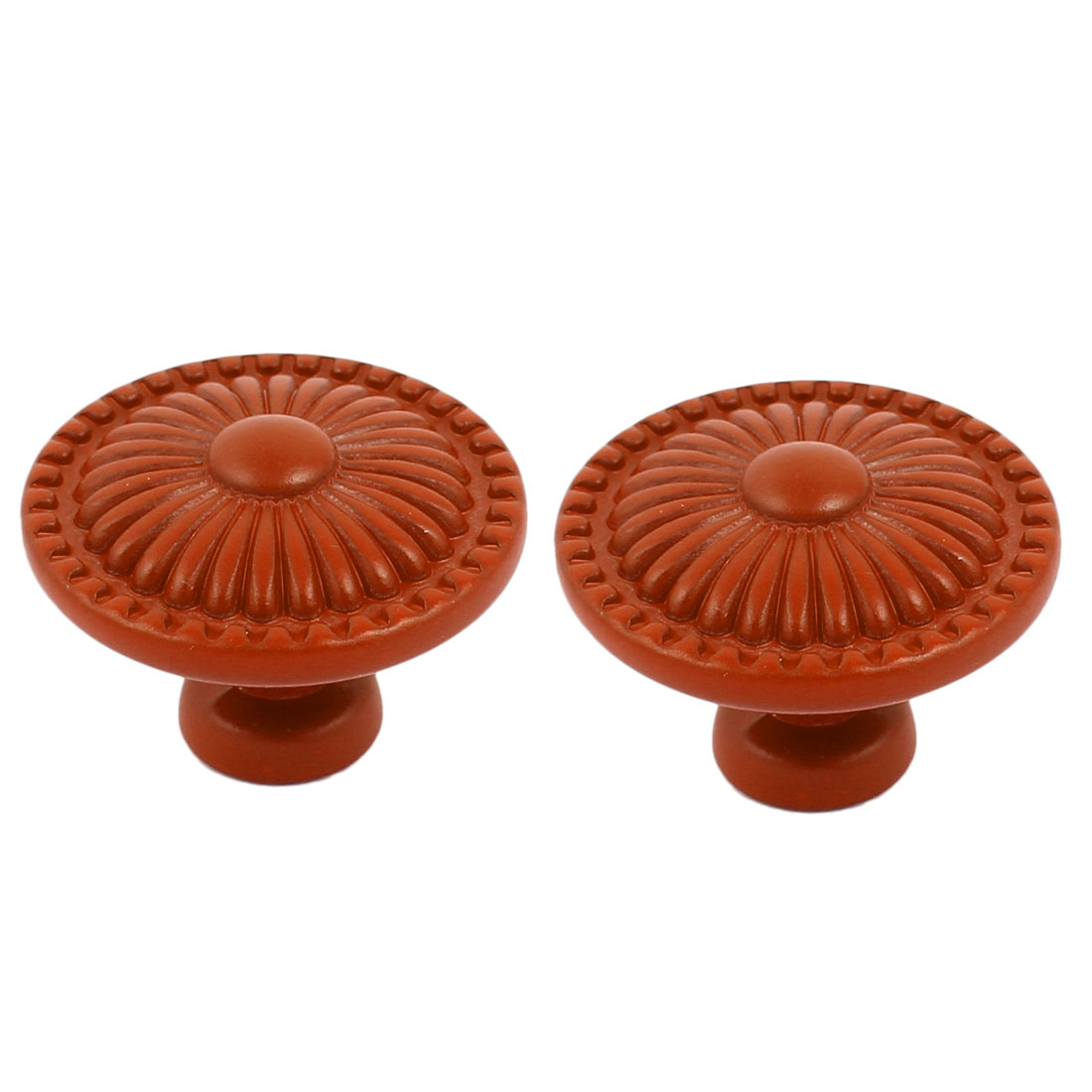 Cabinet Wardrobe Drawer Door Pull Flower Engraved Ceramic Knobs Handle Orange 2pcs