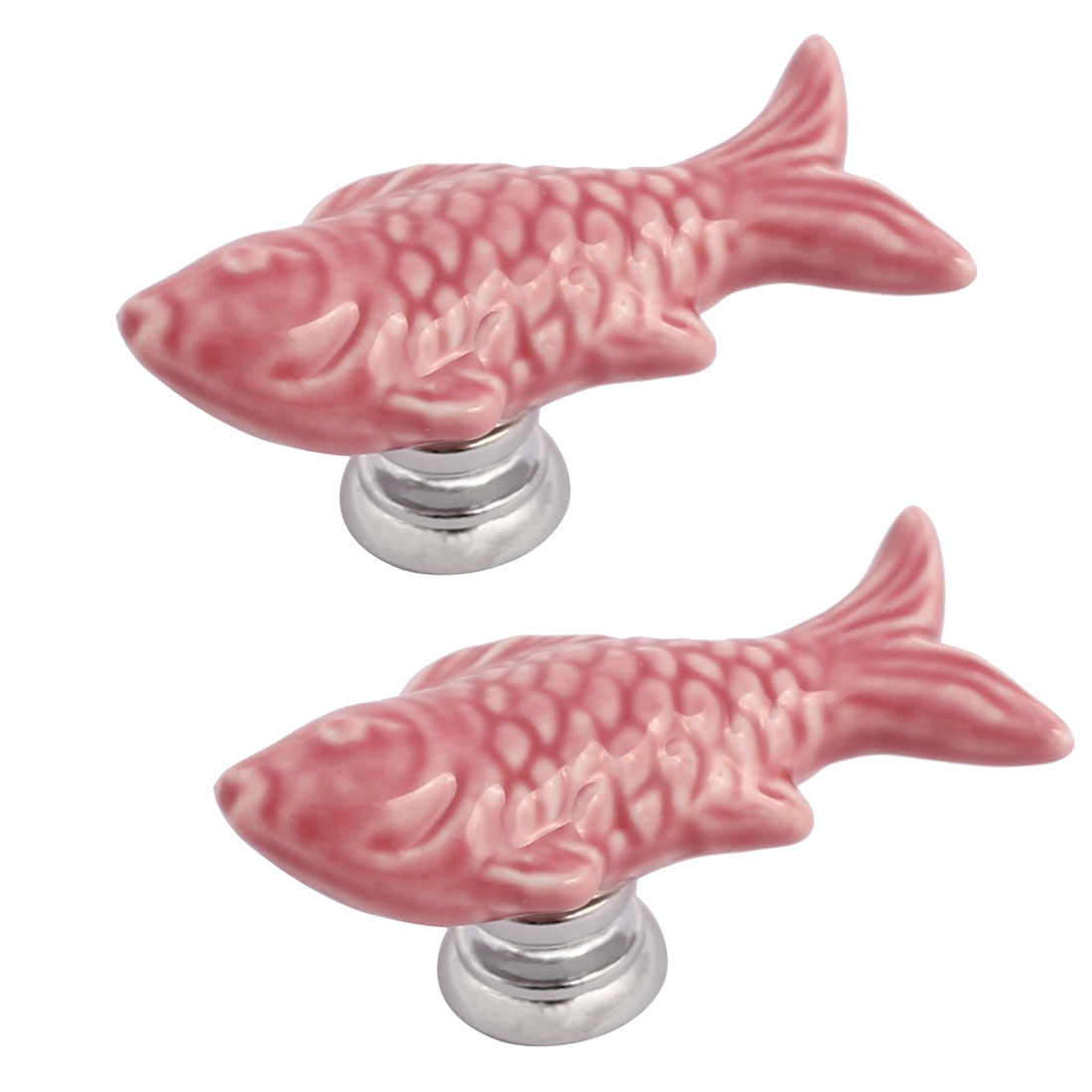 Cabinet Wardrobe Drawer Door Pull Fish Design Ceramic Knobs Pink 2pcs
