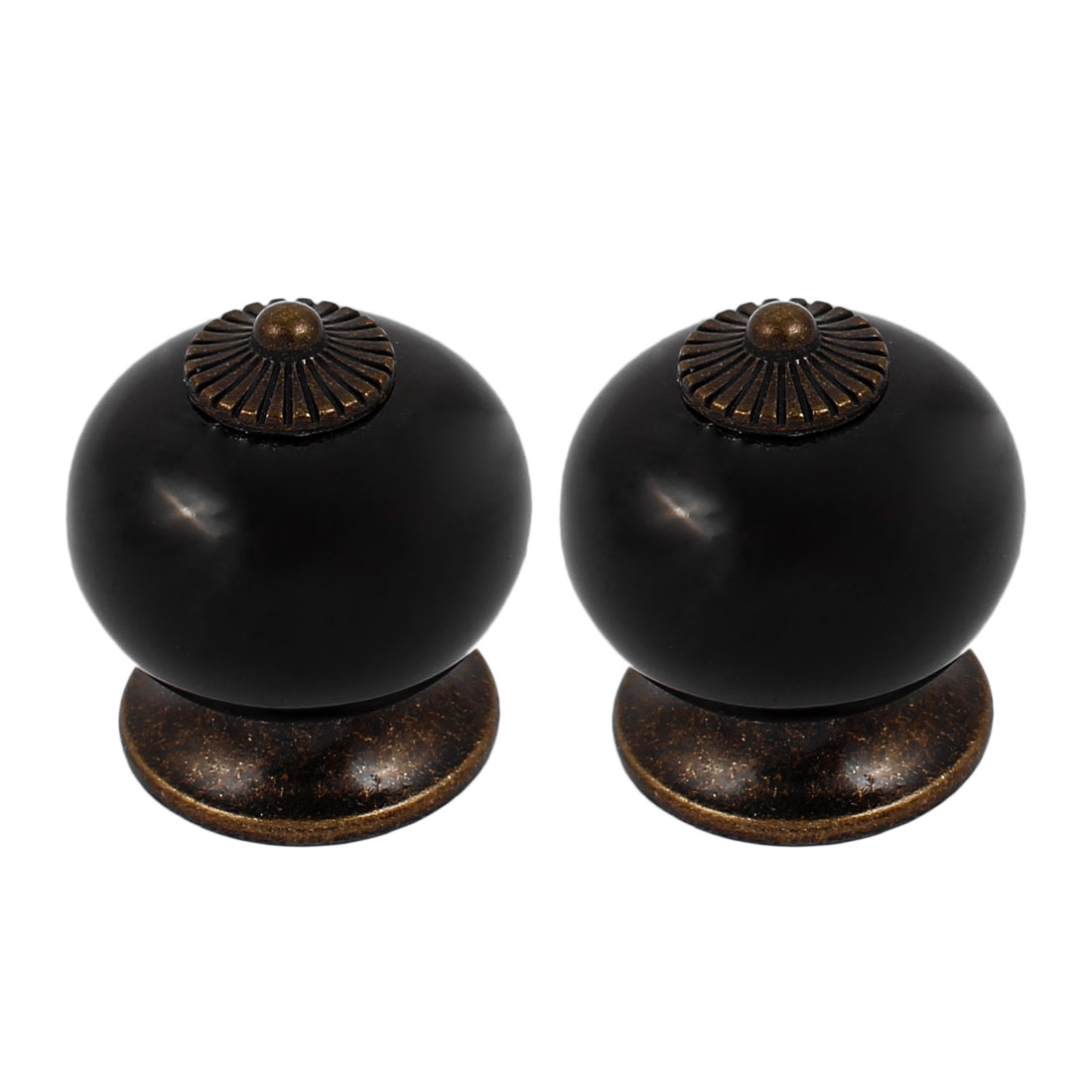 Cabinet Wardrobe Drawer Door Pull Round Ceramic Knobs Handle Black 2pcs