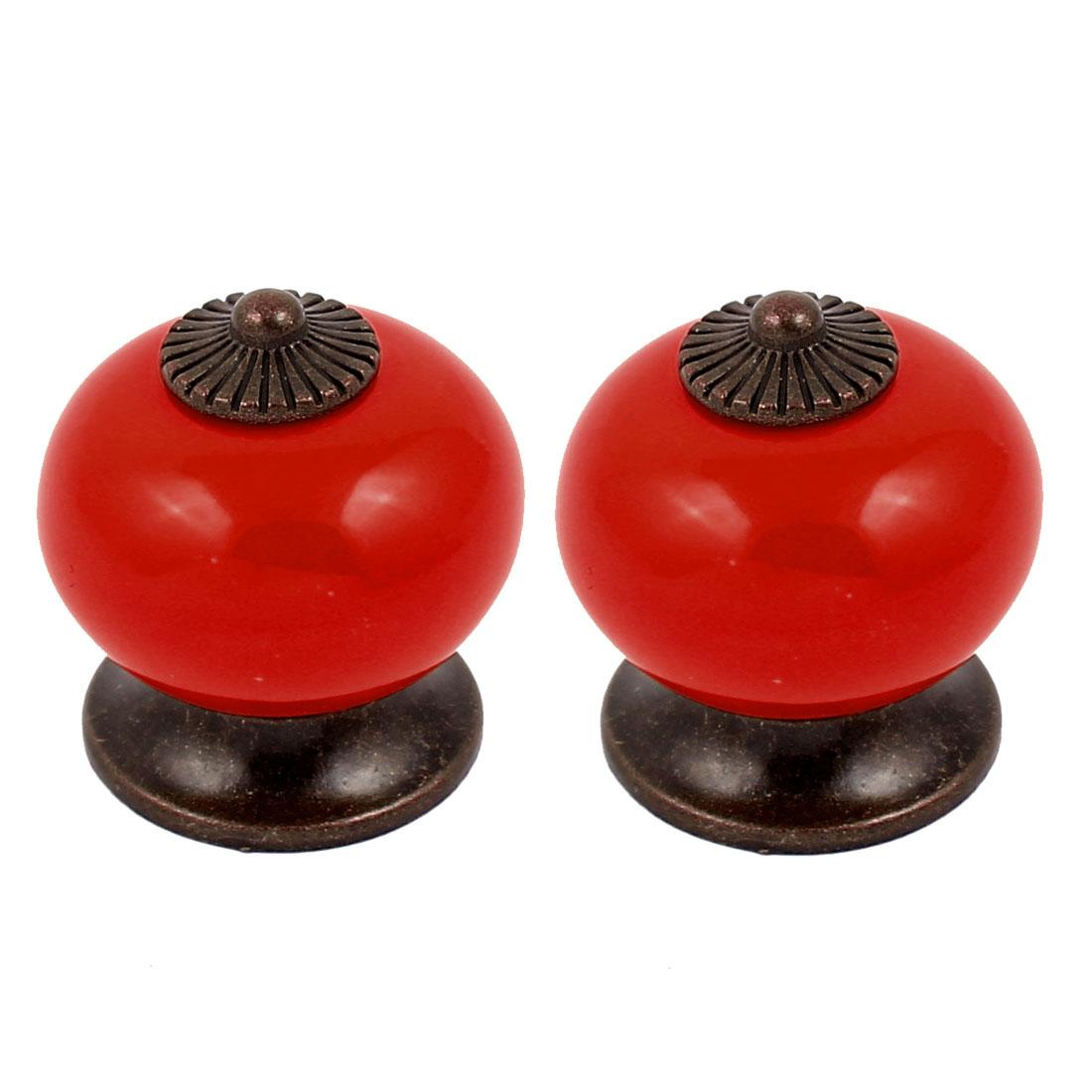 Cabinet Wardrobe Drawer Door Pull Round Ceramic Knobs Handle Red 2pcs