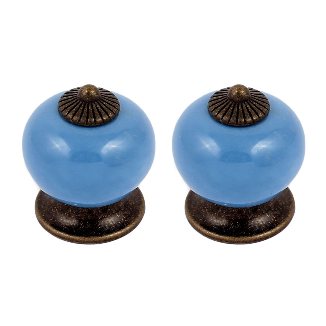 Cabinet Wardrobe Drawer Door Pull Round Ceramic Knobs Handle Blue 2pcs