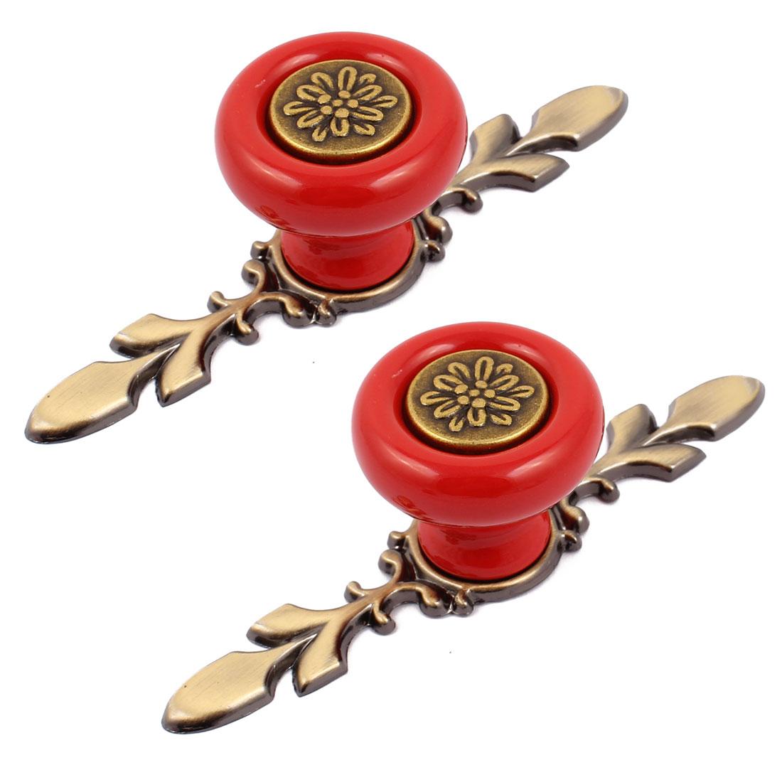Cabinet Wardrobe Drawer Door Pull Round Shape Metal Base Ceramic Knobs Red 2pcs