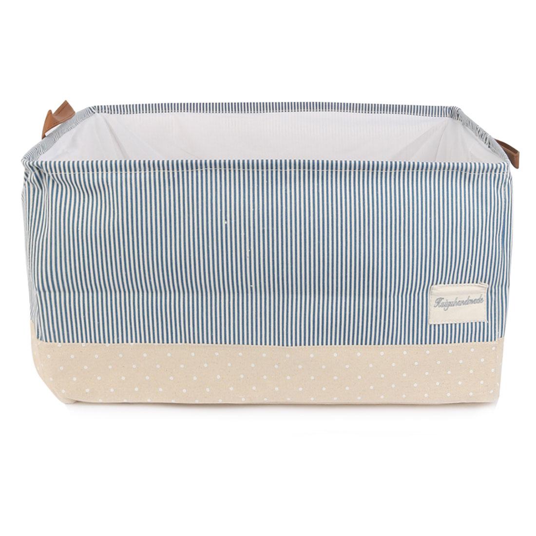 Collapsible Storage Bin Basket Clothes Box w Drawstring Closure (Stripe Pattern)