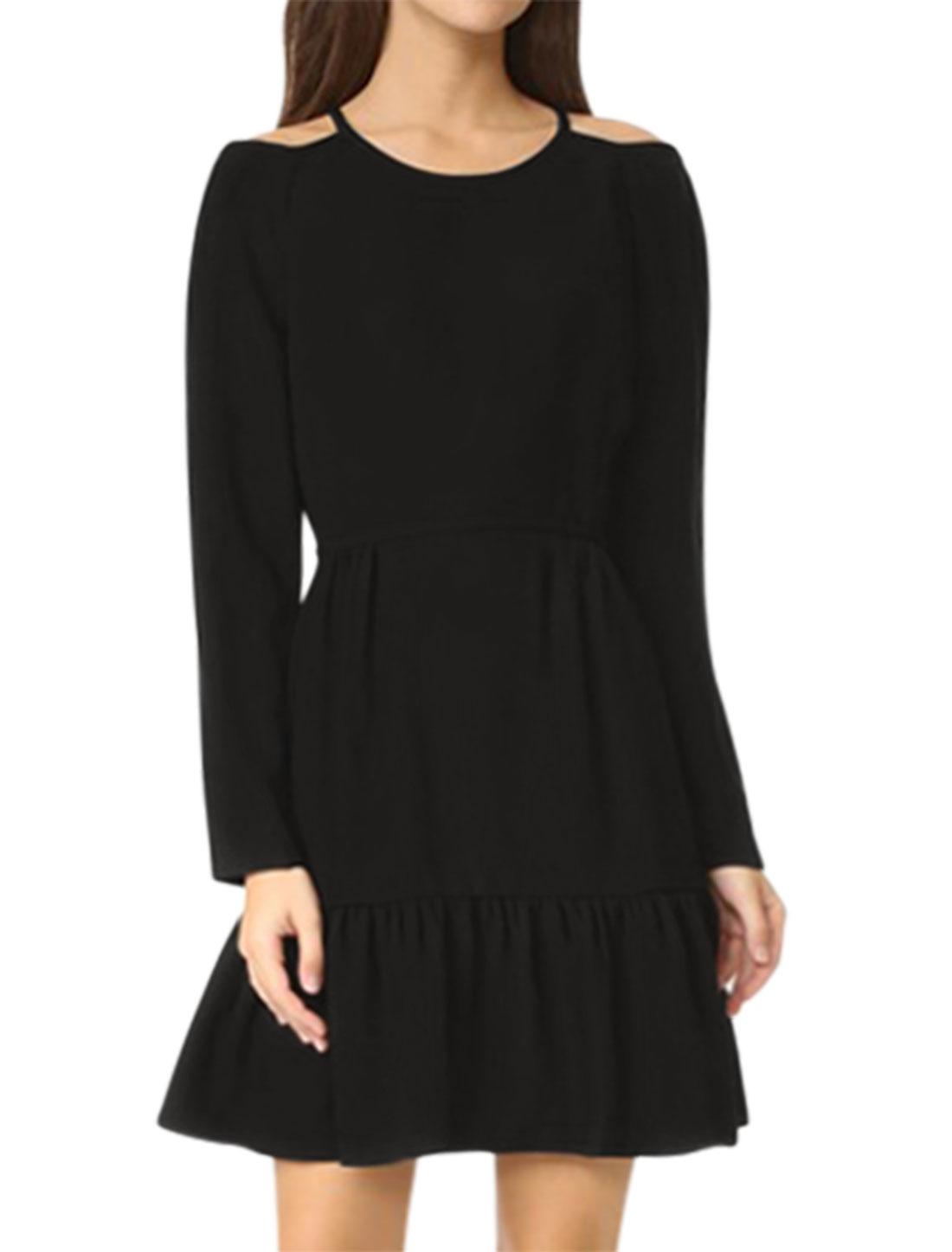 Women Cold Shoulder Long Sleeves Flouncing Hem Tunic Dress Black L