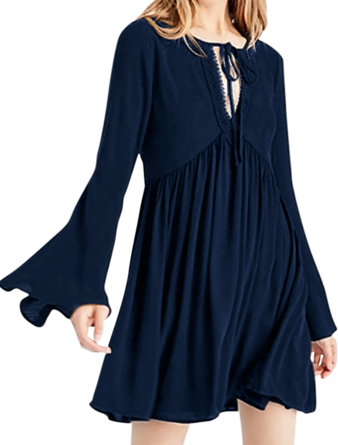 Women Self Tie Neck Bell Sleeve Cut Out Back Tunic Chiffon Dress Blue L