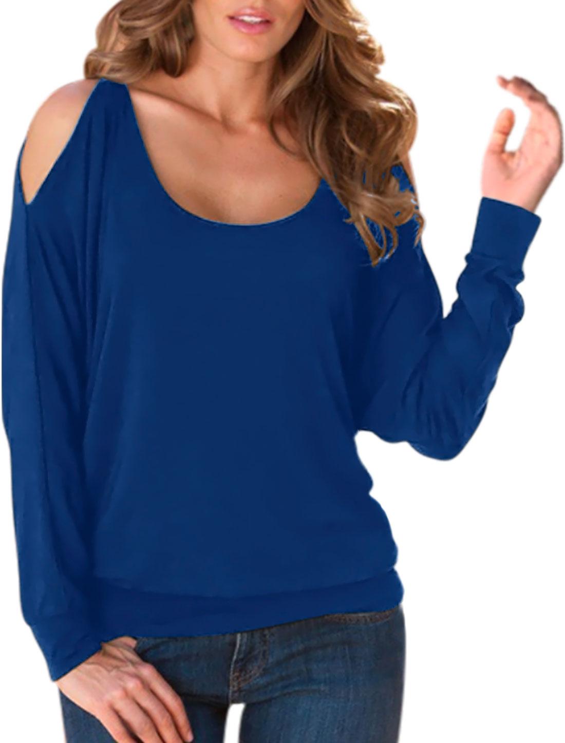 Women Split Shoulder Dolman Sleeves Keyhole Back Loose Top Blue M