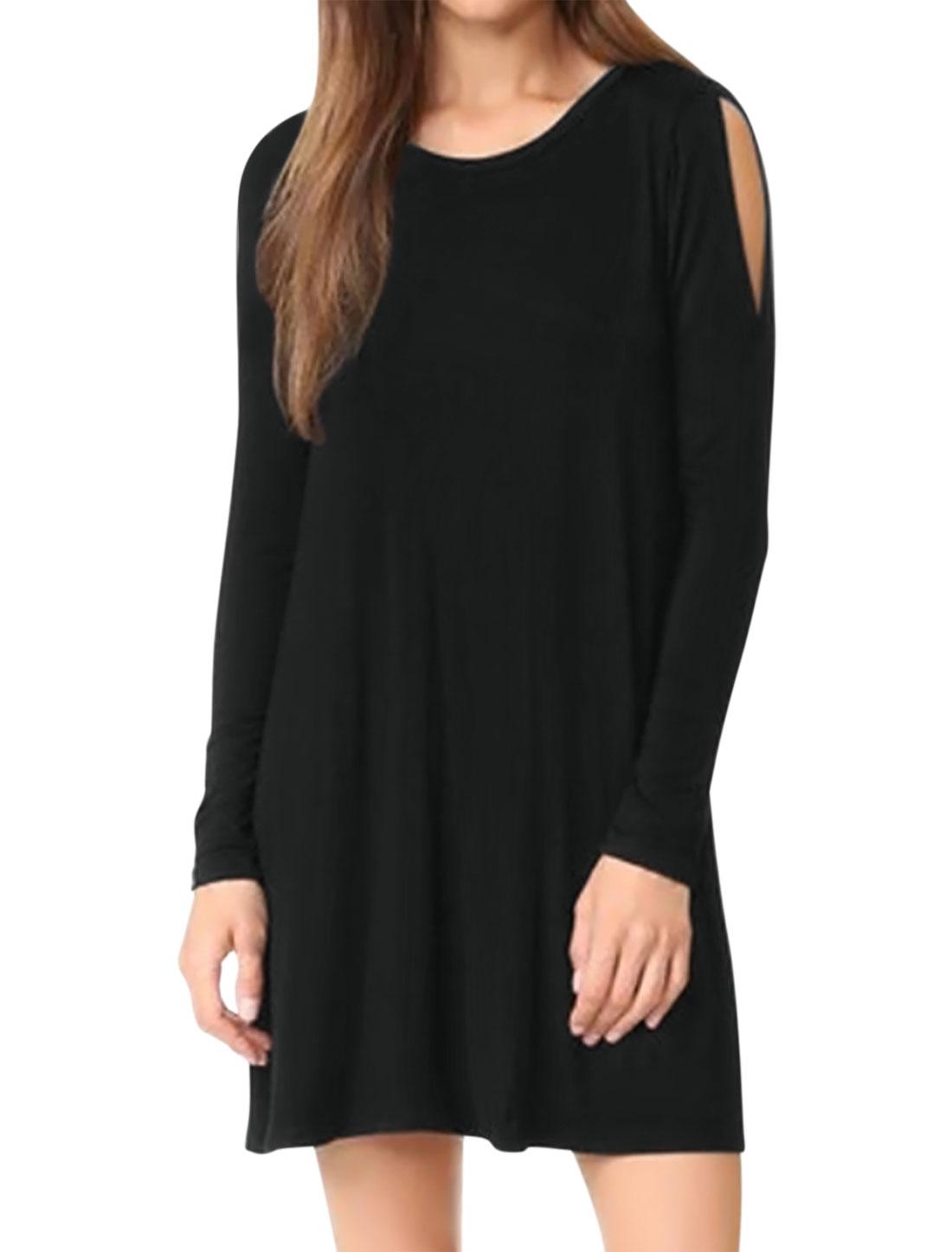 Women Split Shoulder Long Sleeves A Line Loose Tunic Dress Black S