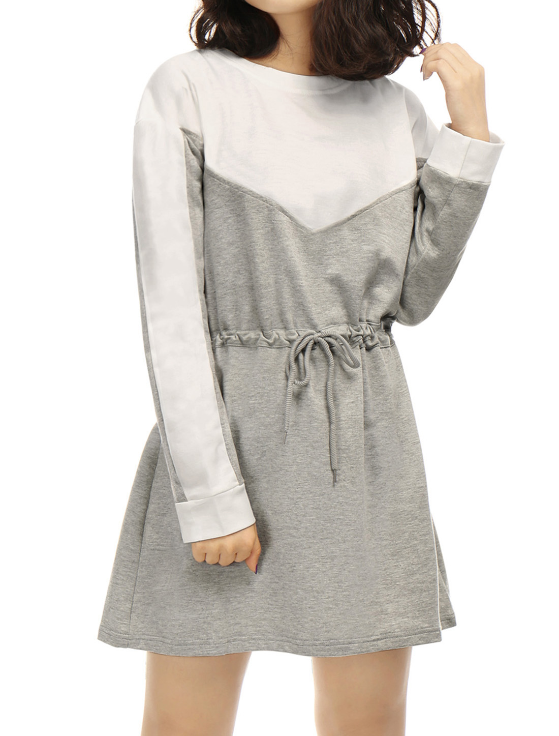 Women Long Sleeves Drawstring Waist Contrast Color Tunic Dress Gray XS