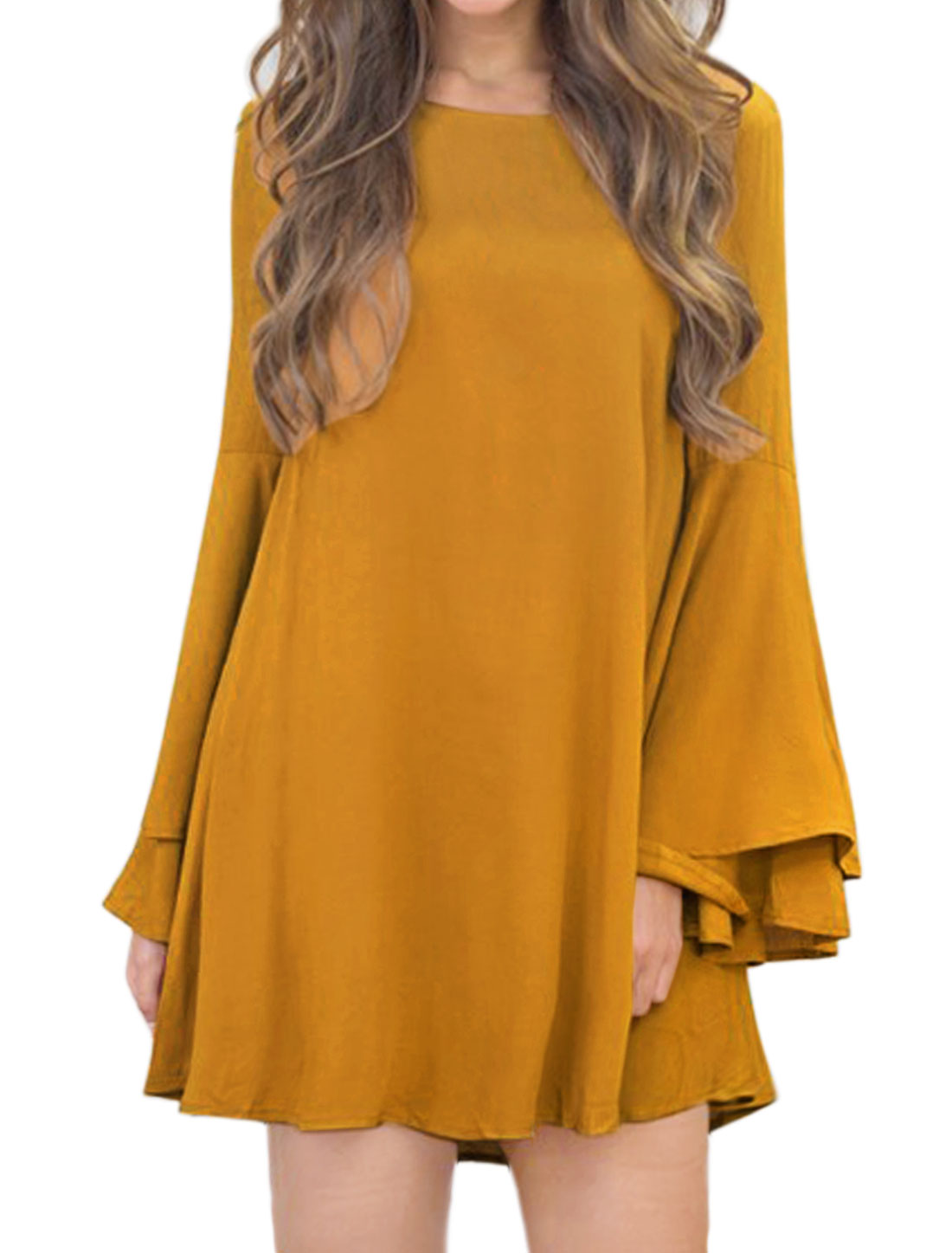 Women Trumpet Sleeves Overlay Cuffs Strappy Back Tunic Dress Yellow M
