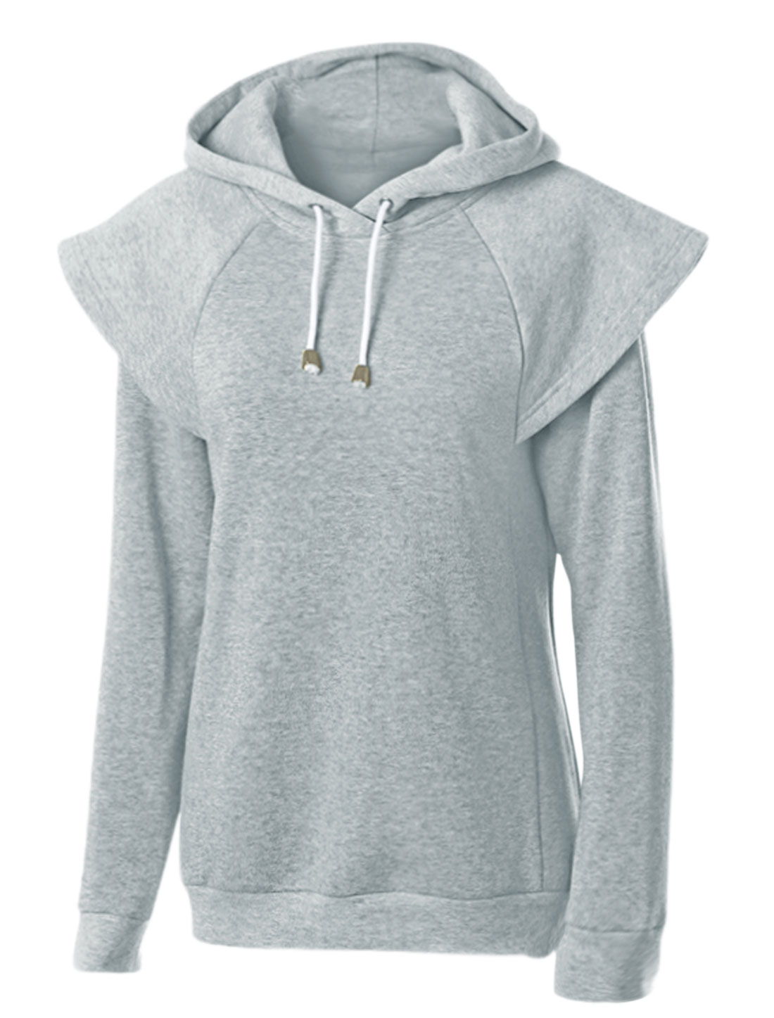 Women Overlay Shoulder Long Sleeves Drawstring Hooded Tunic Sweatshirt Gray M