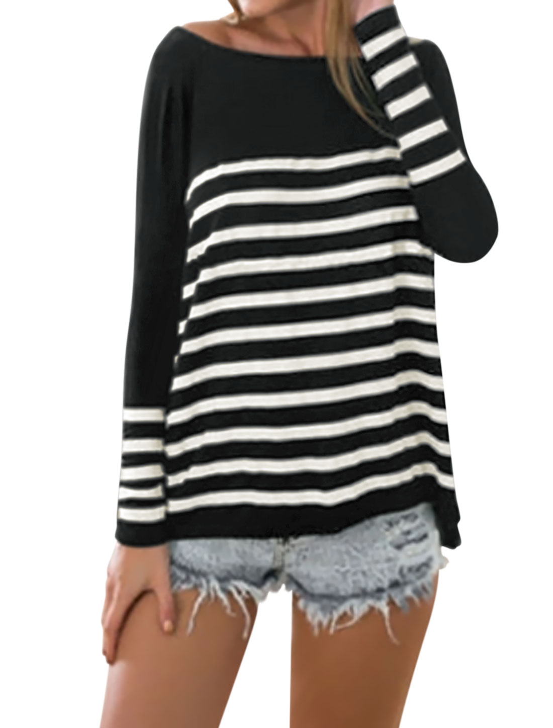 Women Boat Neck Dolman Long Sleeves Loose Stripes Top Black XS