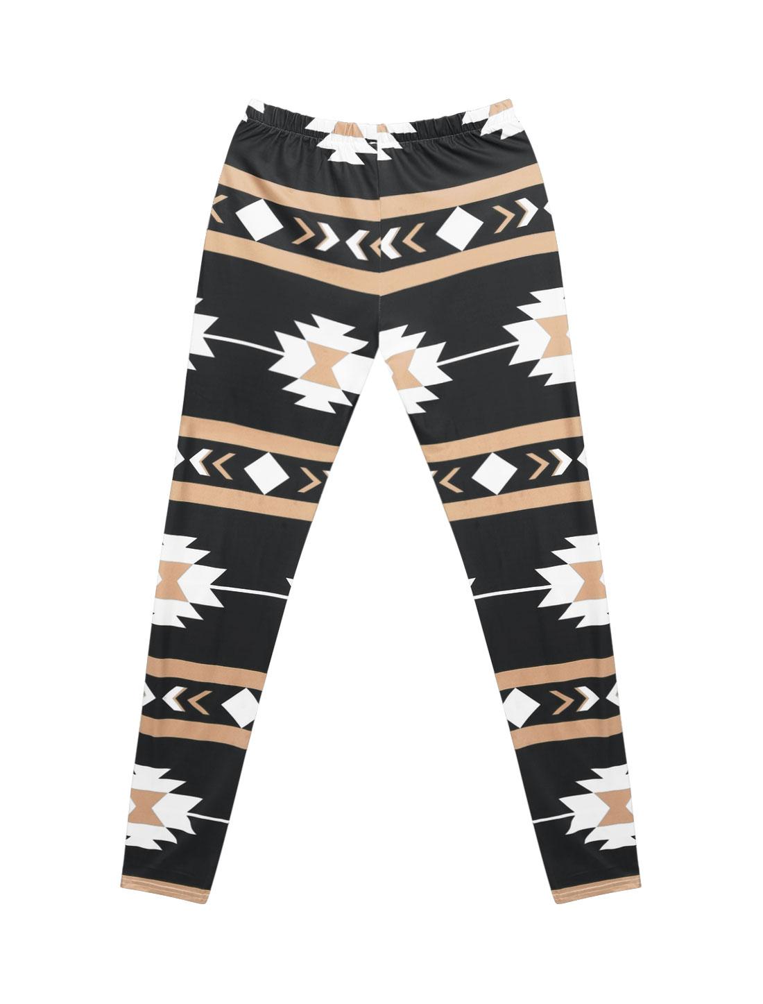 Women High Waist Contrast Color Geometric Prints Skinny Leggings Black M