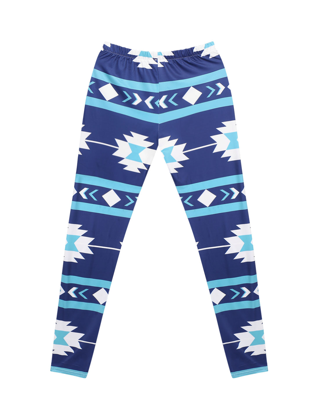 Women High Waist Contrast Color Geometric Prints Skinny Leggings Blue M