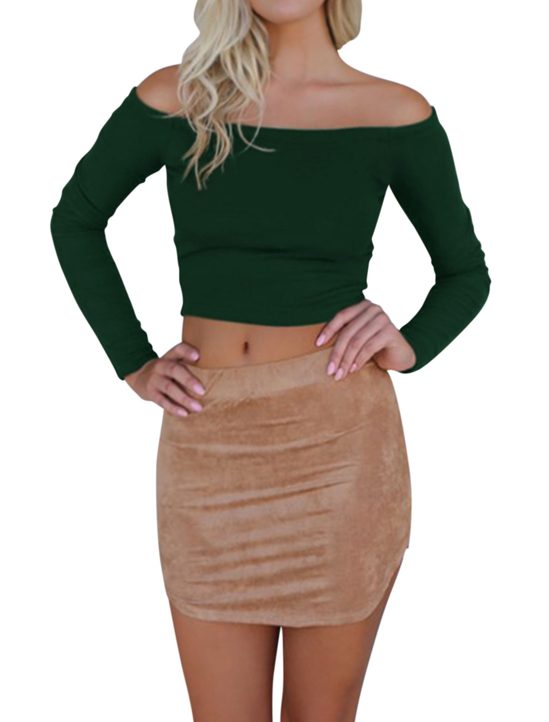 Women Off Shoulder Long Sleeves Ribbed Slim Fit Cropped Top Green M